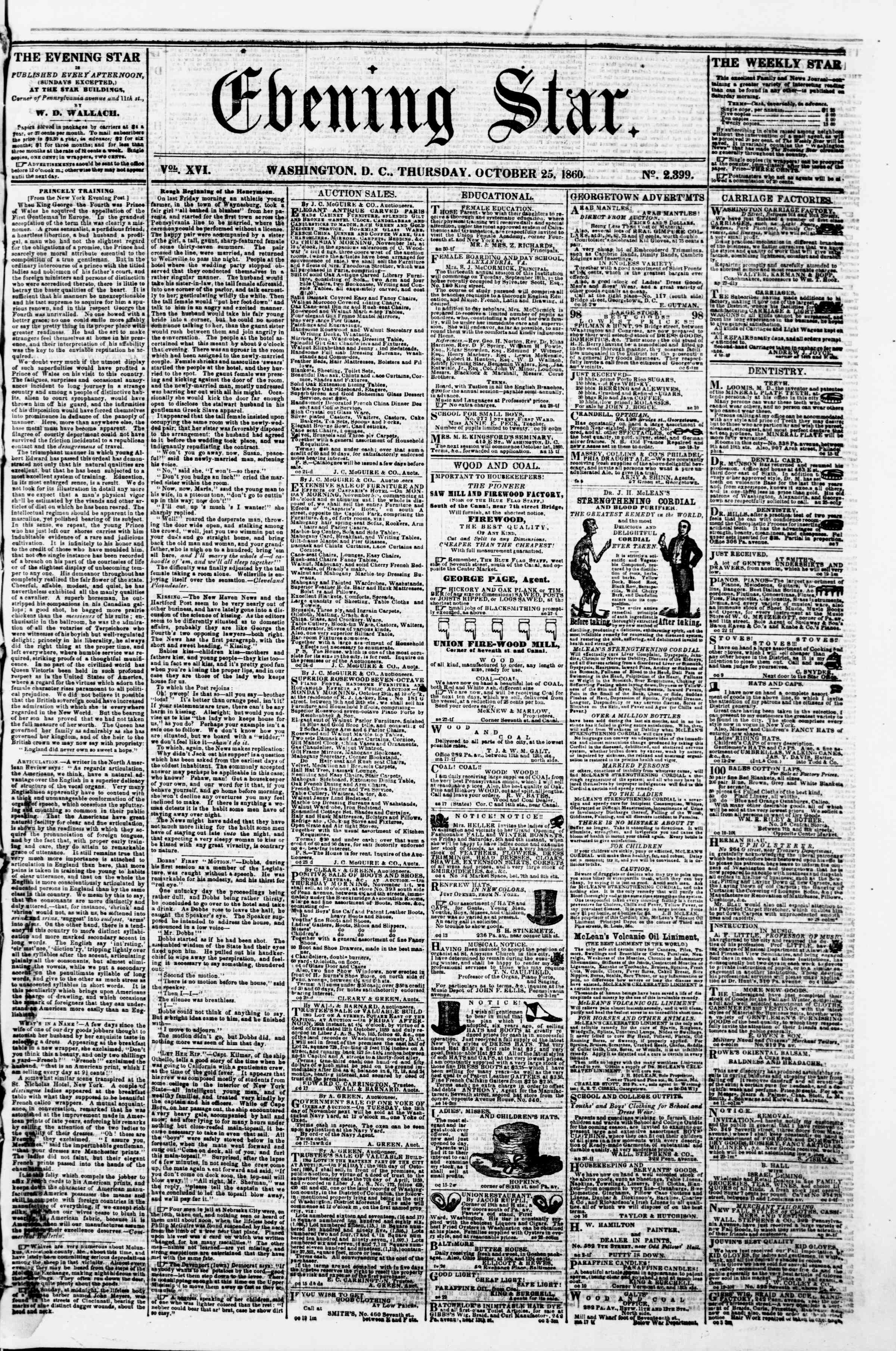 Newspaper of Evening Star dated October 25, 1860 Page 1