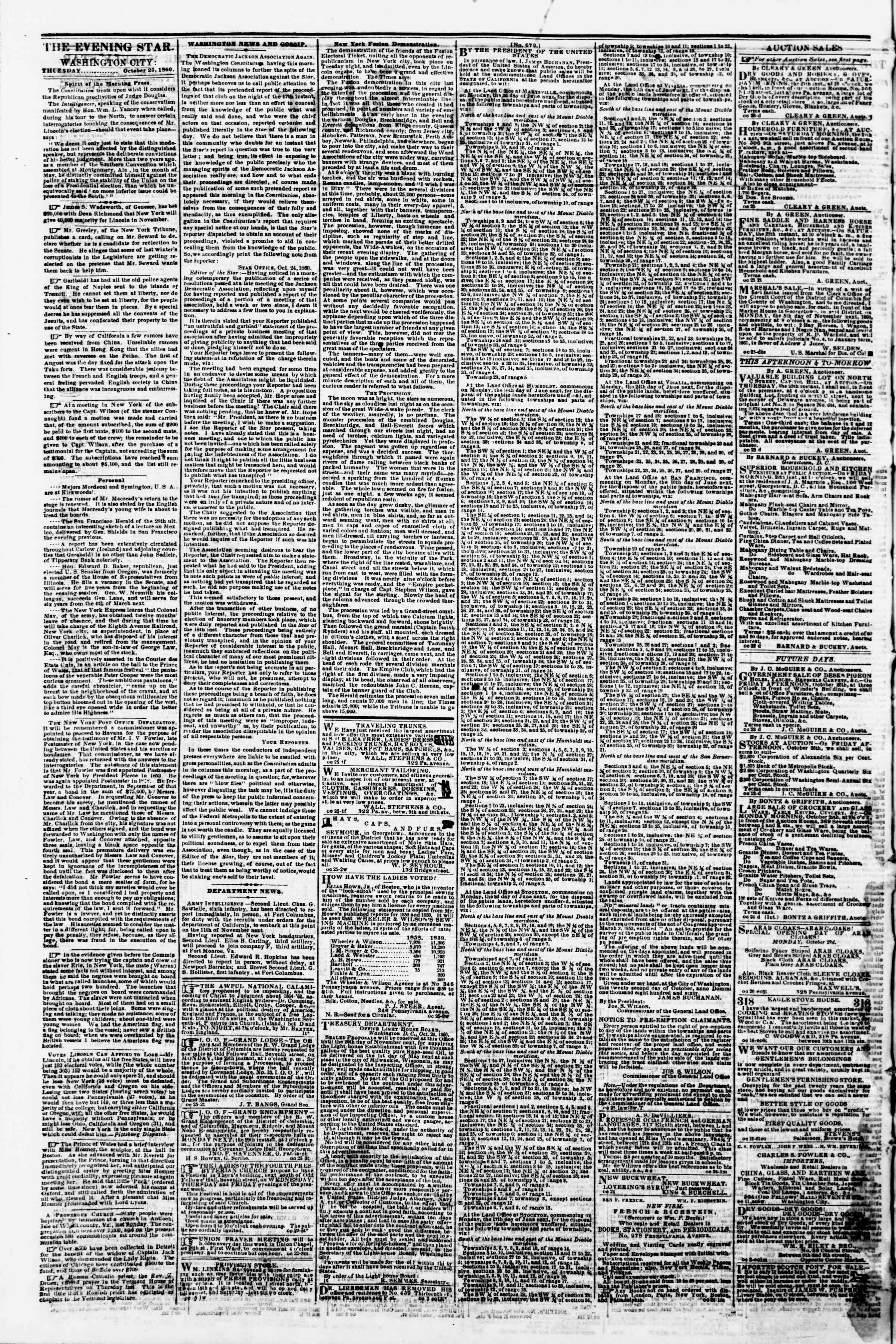 Newspaper of Evening Star dated 25 Ekim 1860 Page 2