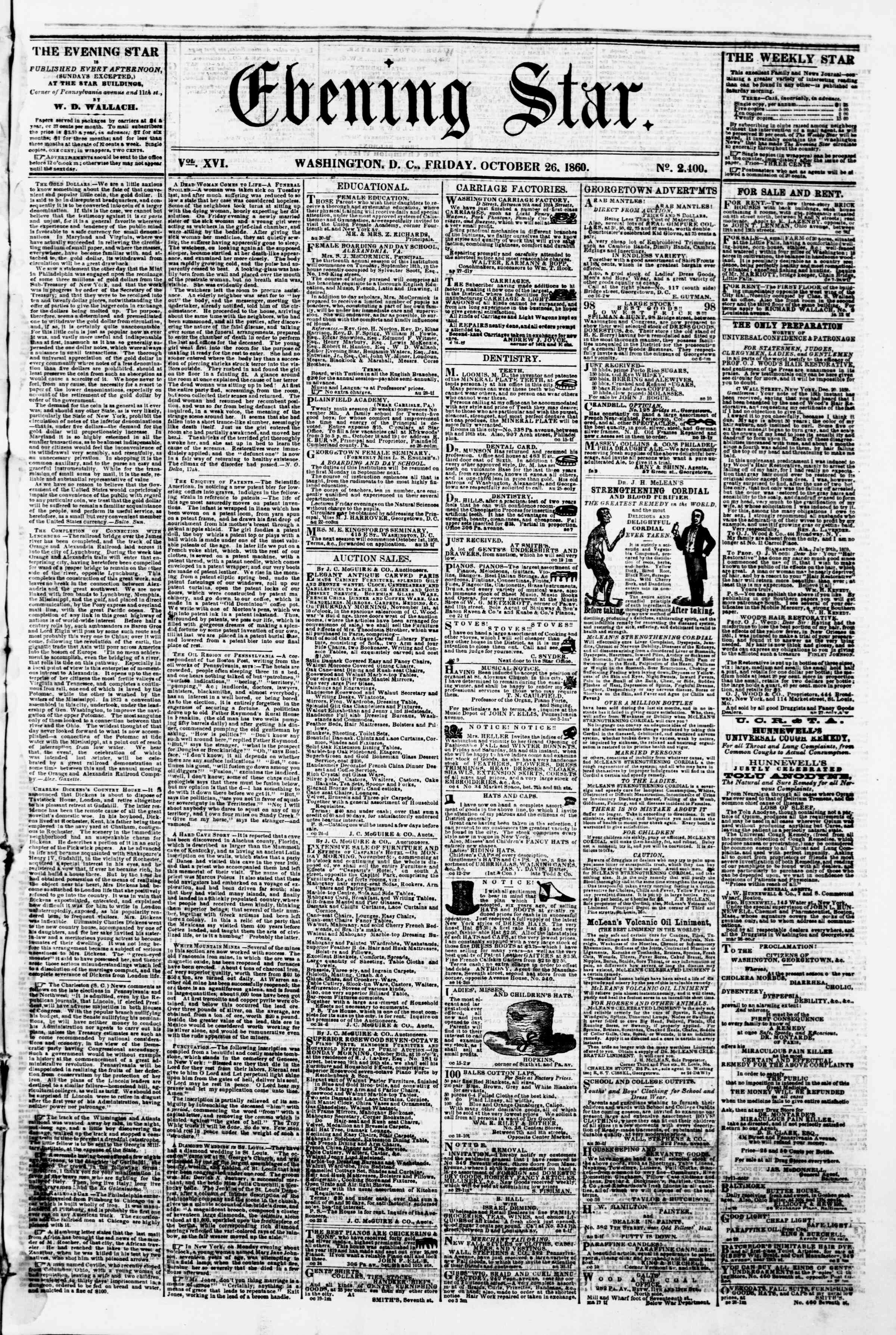 Newspaper of Evening Star dated October 26, 1860 Page 1