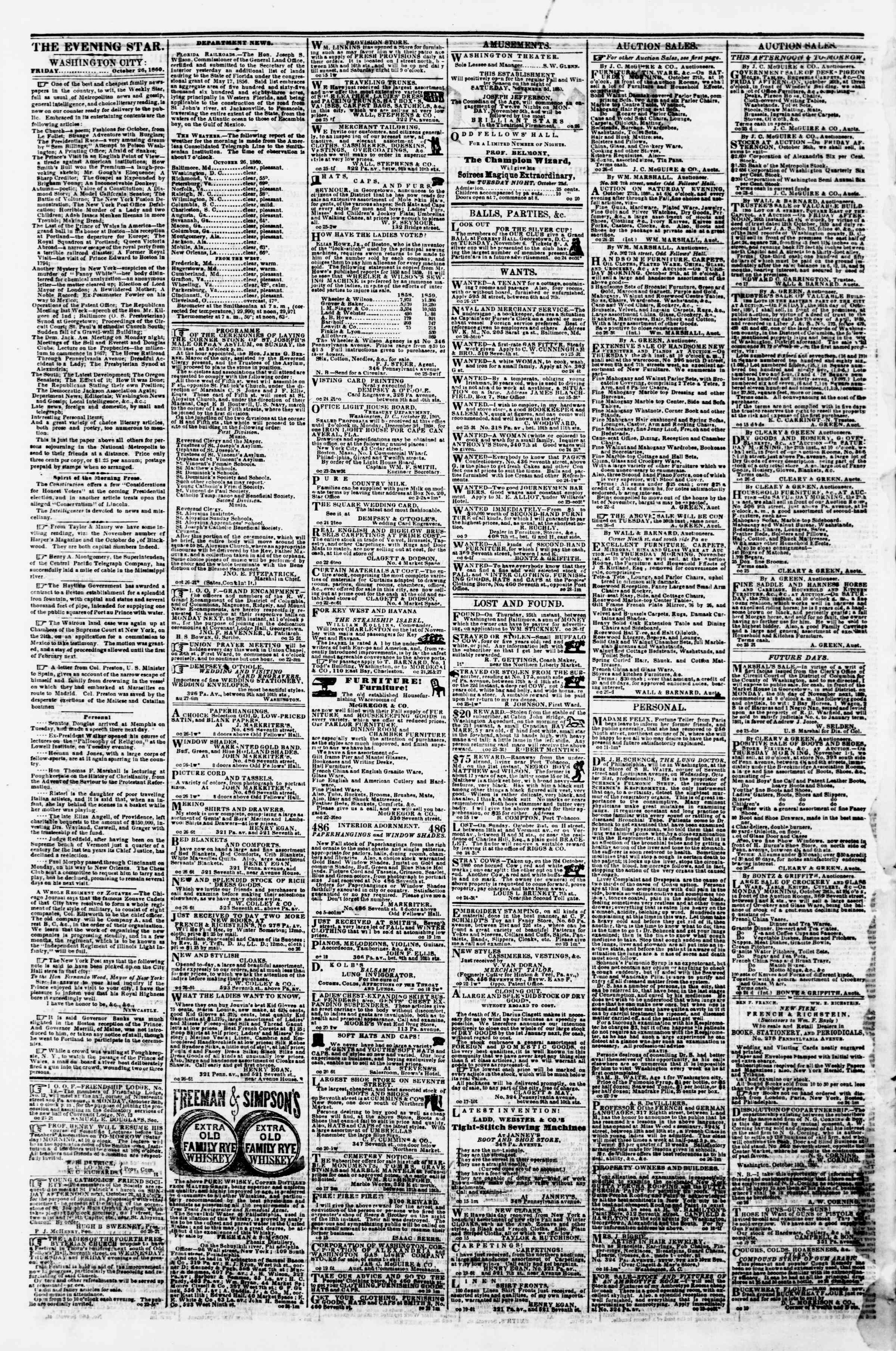 Newspaper of Evening Star dated October 26, 1860 Page 2
