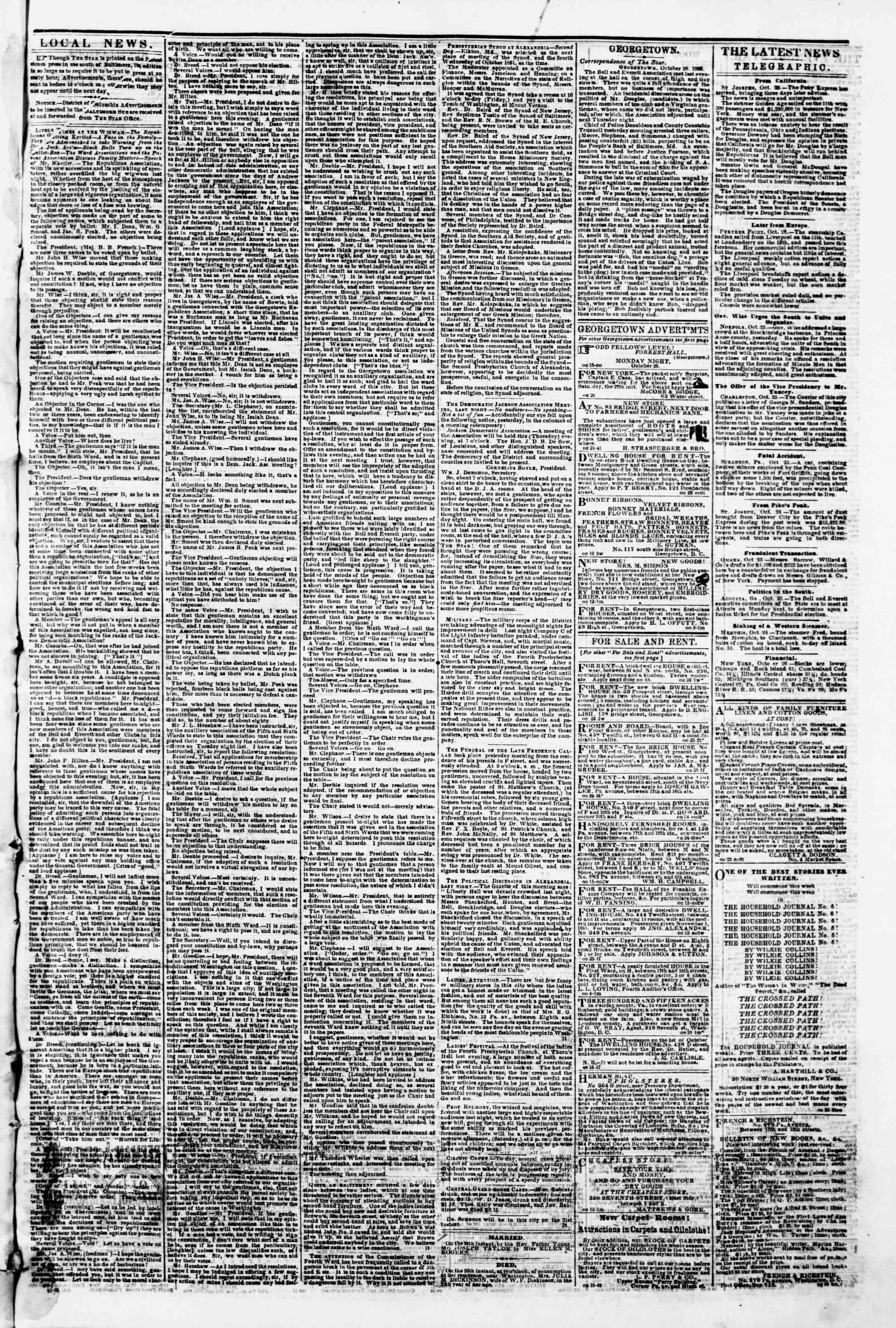 Newspaper of Evening Star dated October 26, 1860 Page 3