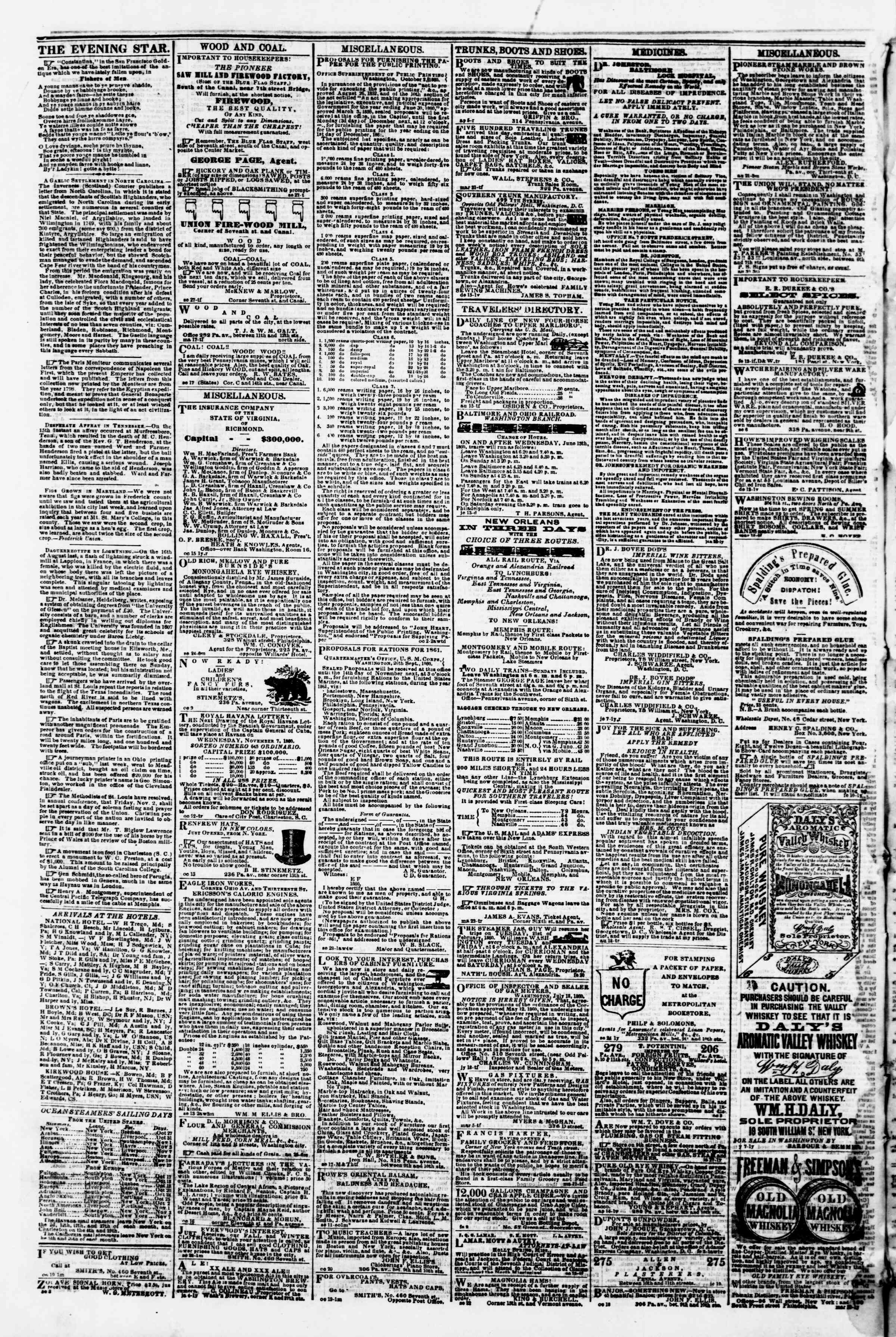 Newspaper of Evening Star dated October 26, 1860 Page 4