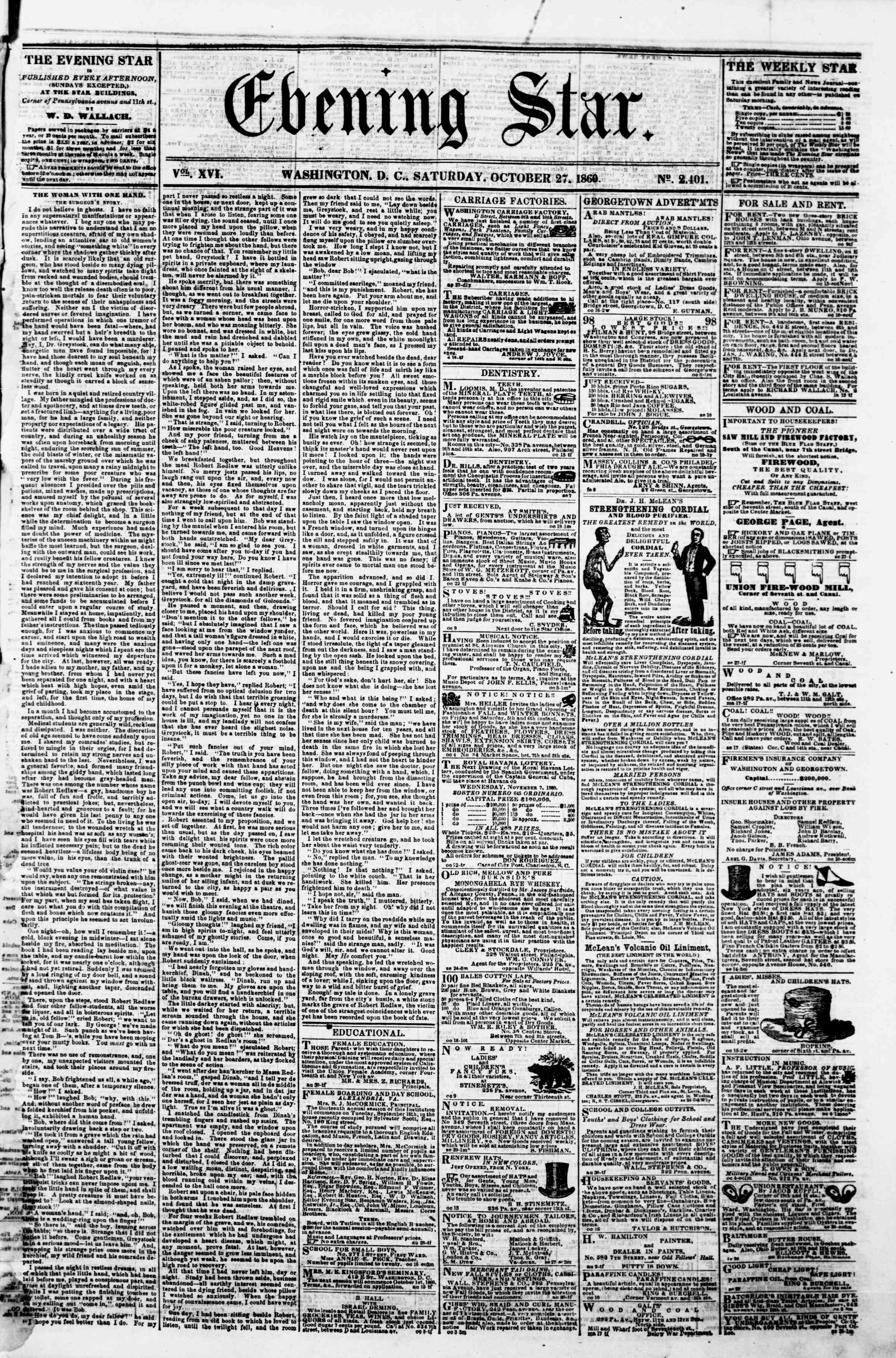 Newspaper of Evening Star dated October 27, 1860 Page 1