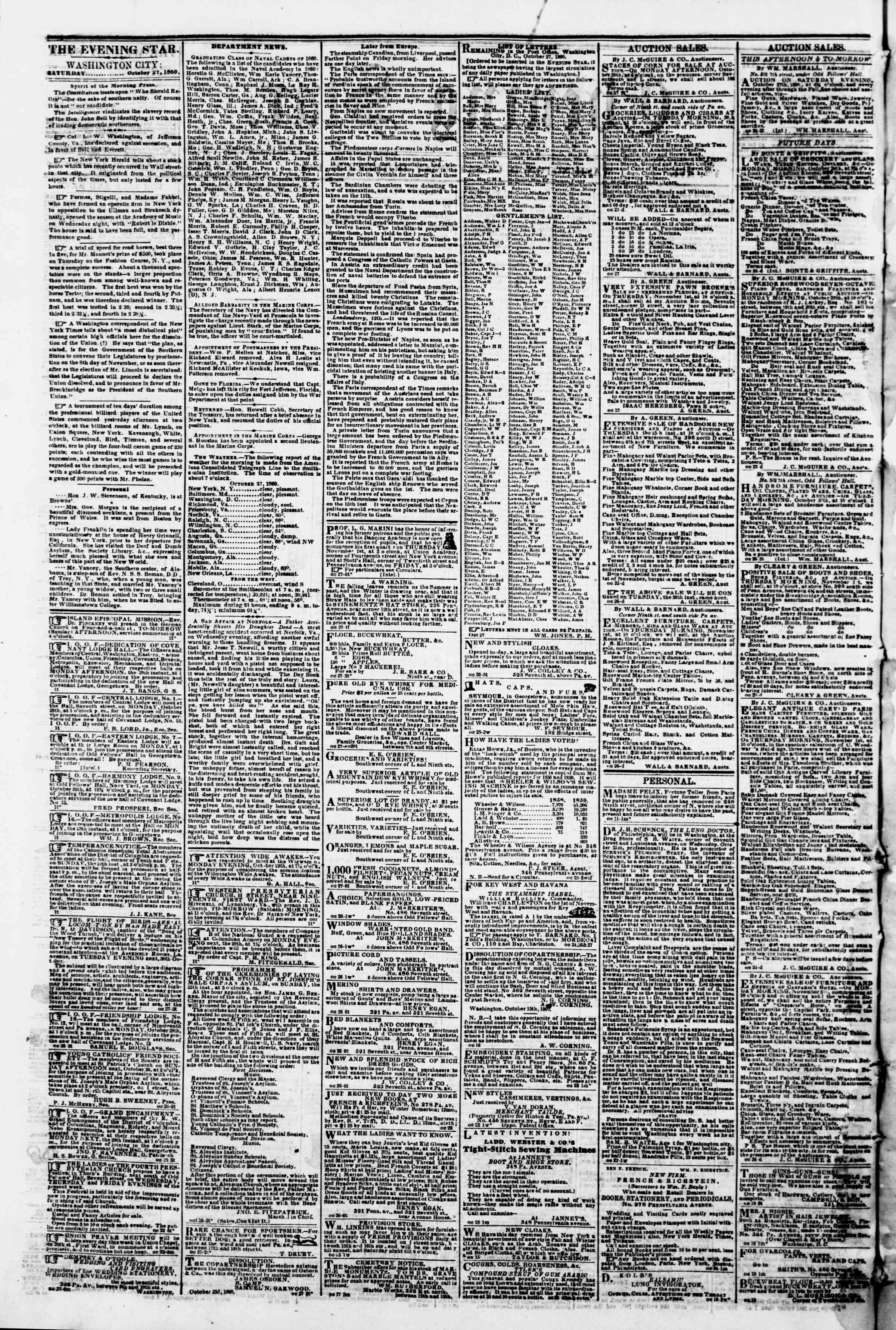 Newspaper of Evening Star dated October 27, 1860 Page 2