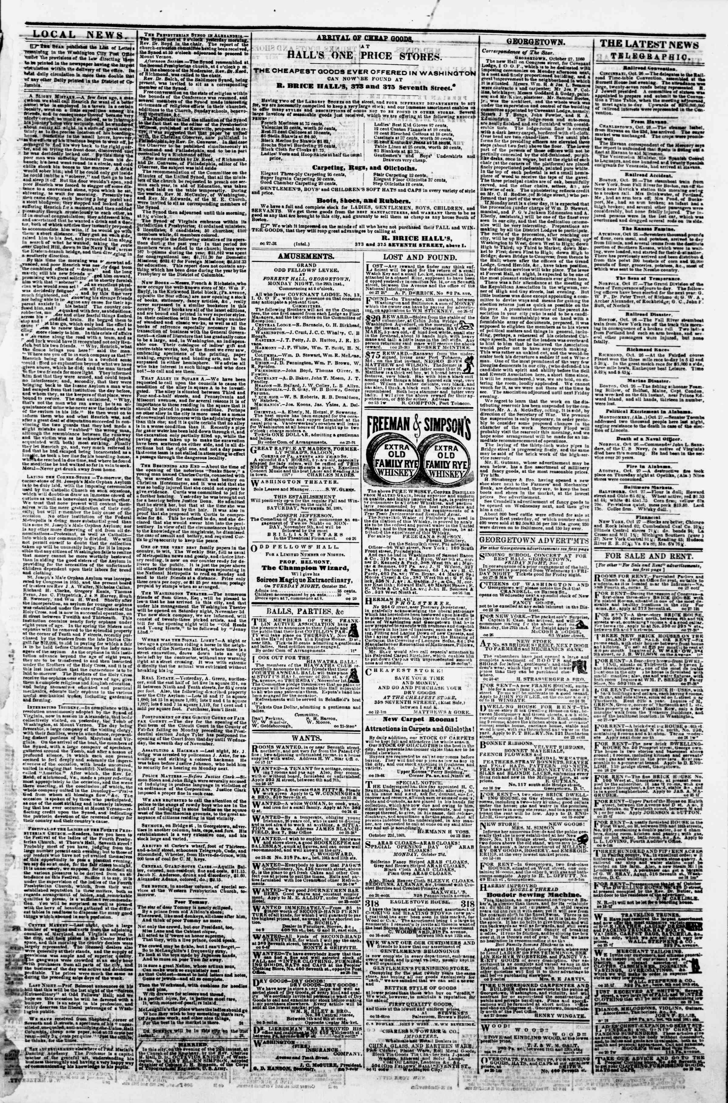 Newspaper of Evening Star dated October 27, 1860 Page 3