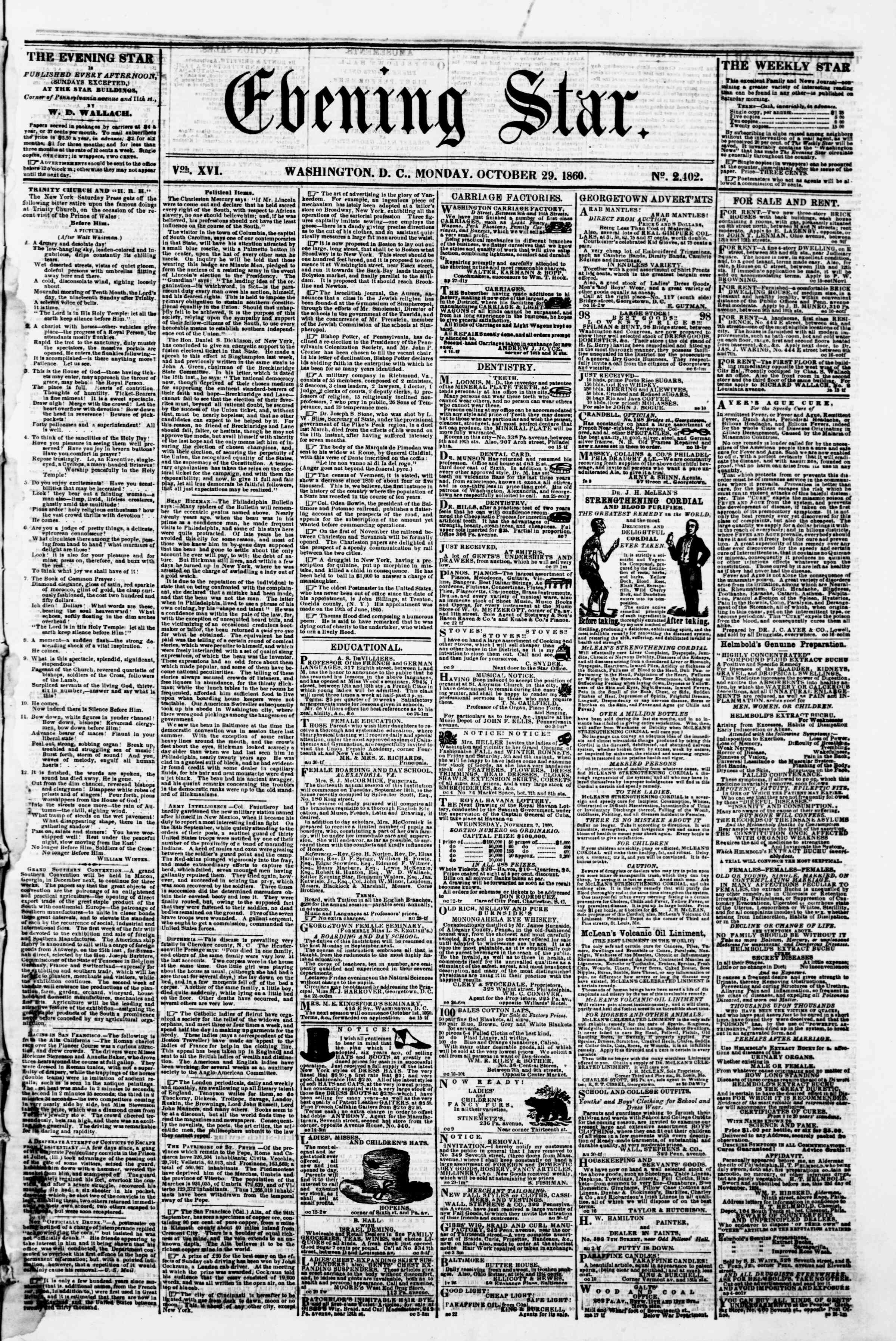 Newspaper of Evening Star dated October 29, 1860 Page 1