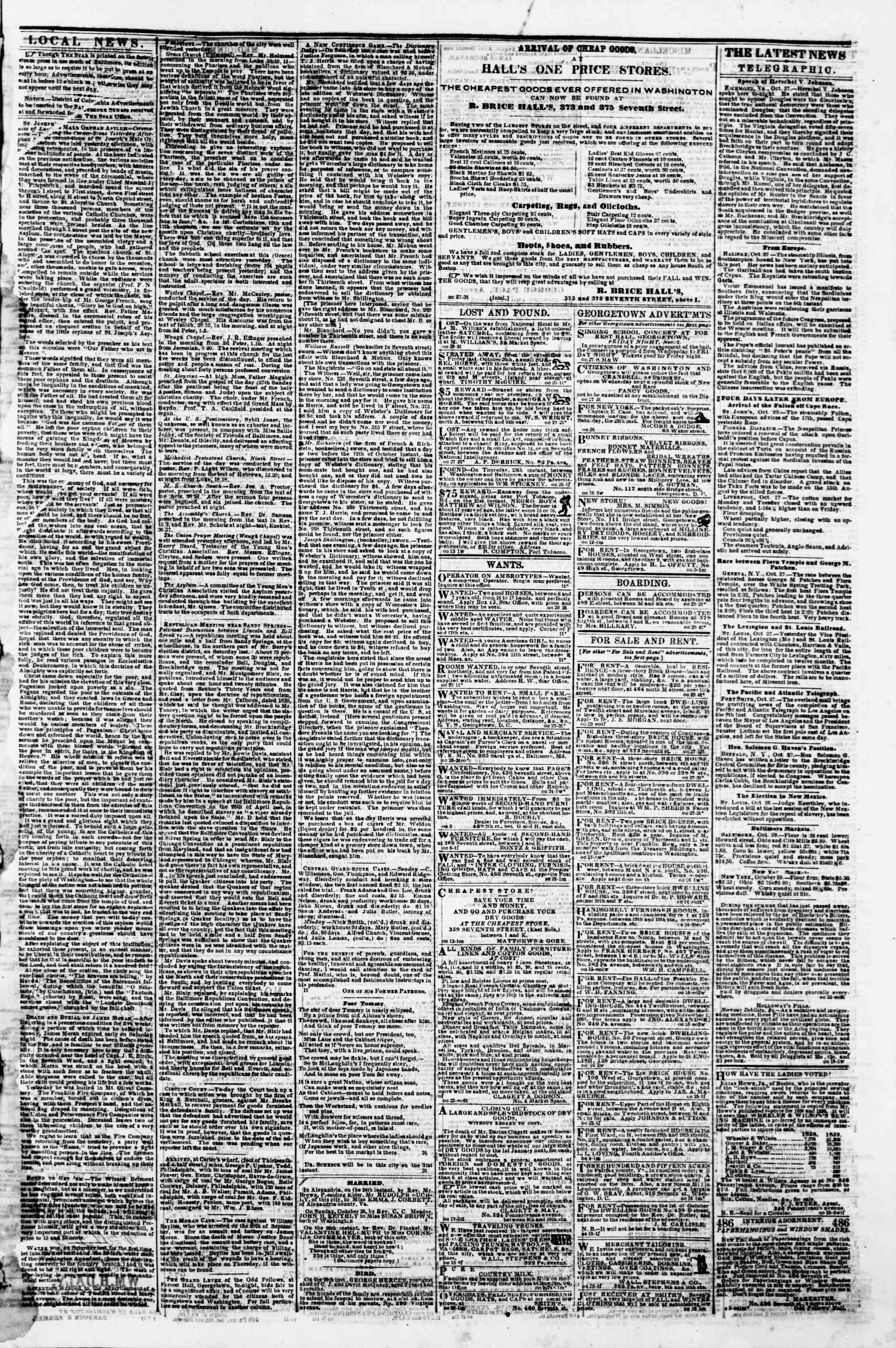 Newspaper of Evening Star dated October 29, 1860 Page 3