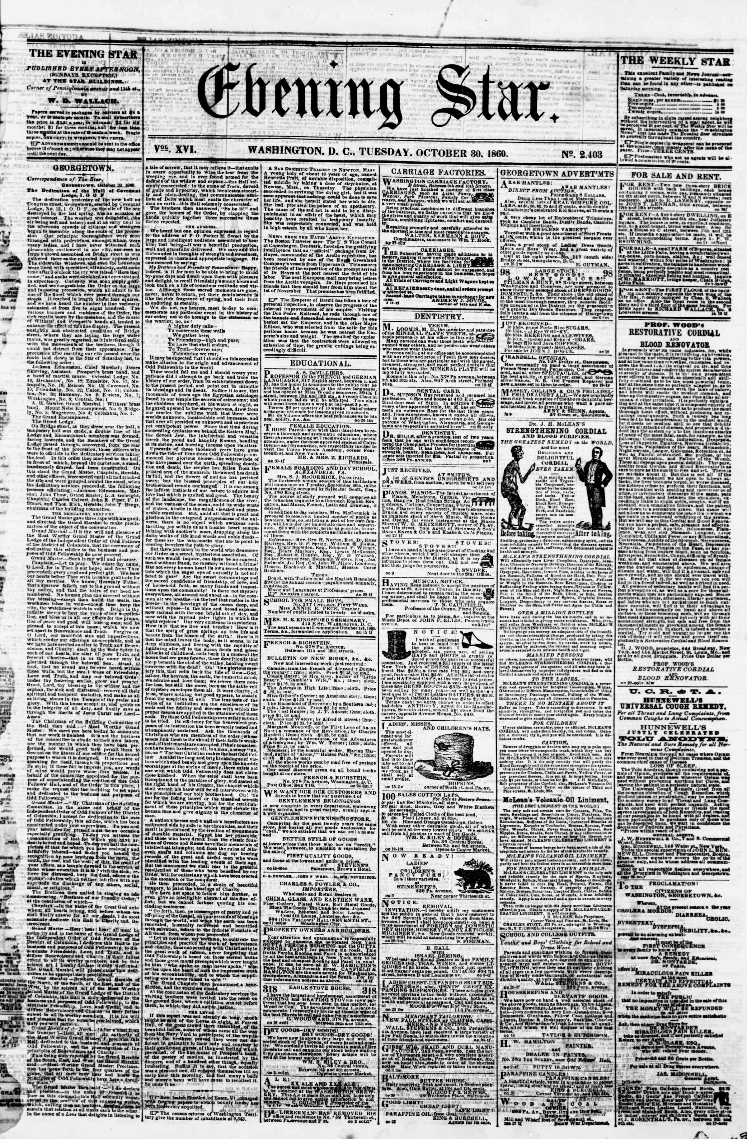 Newspaper of Evening Star dated October 30, 1860 Page 1