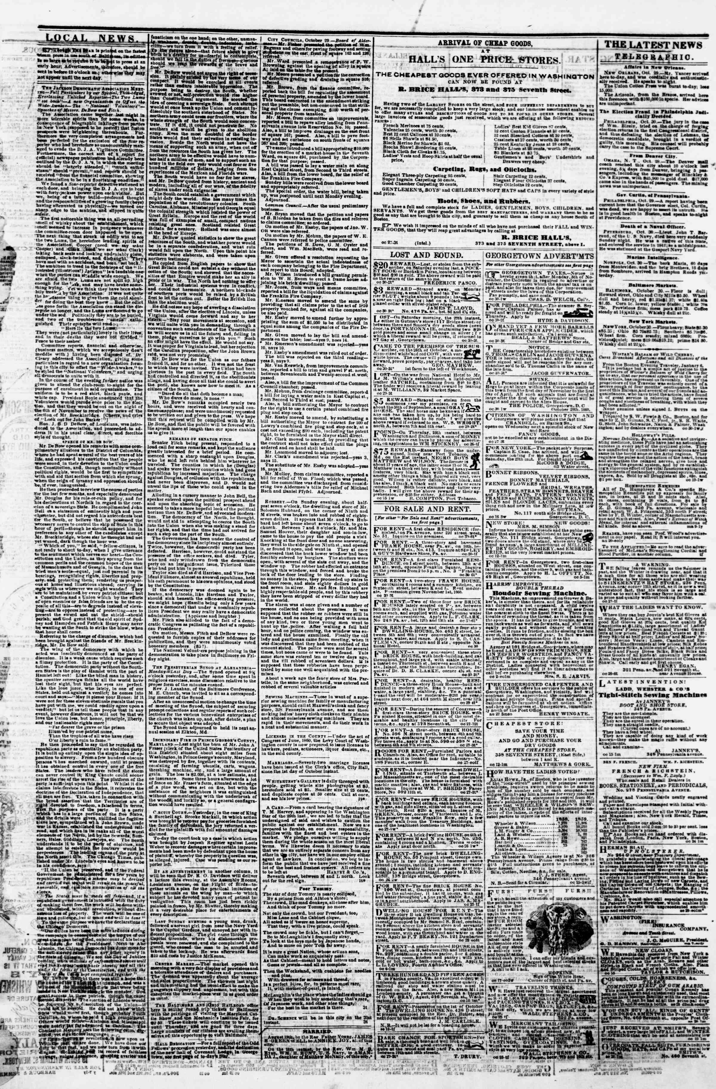 Newspaper of Evening Star dated October 30, 1860 Page 3