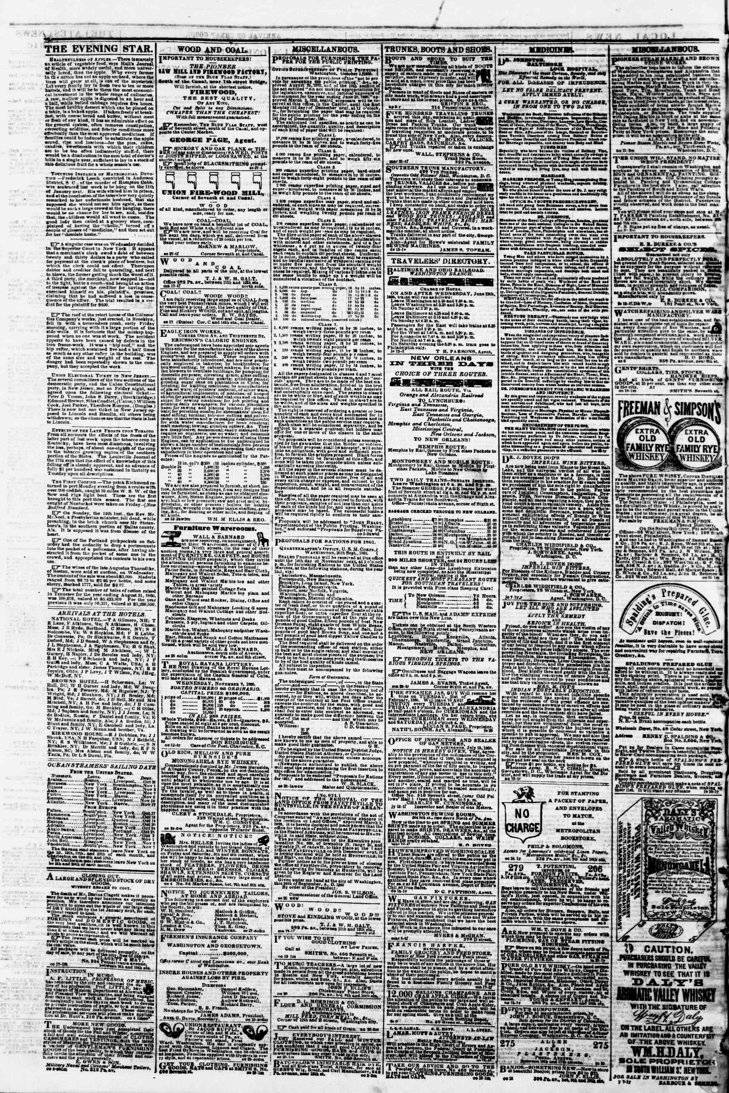 Newspaper of Evening Star dated October 30, 1860 Page 4