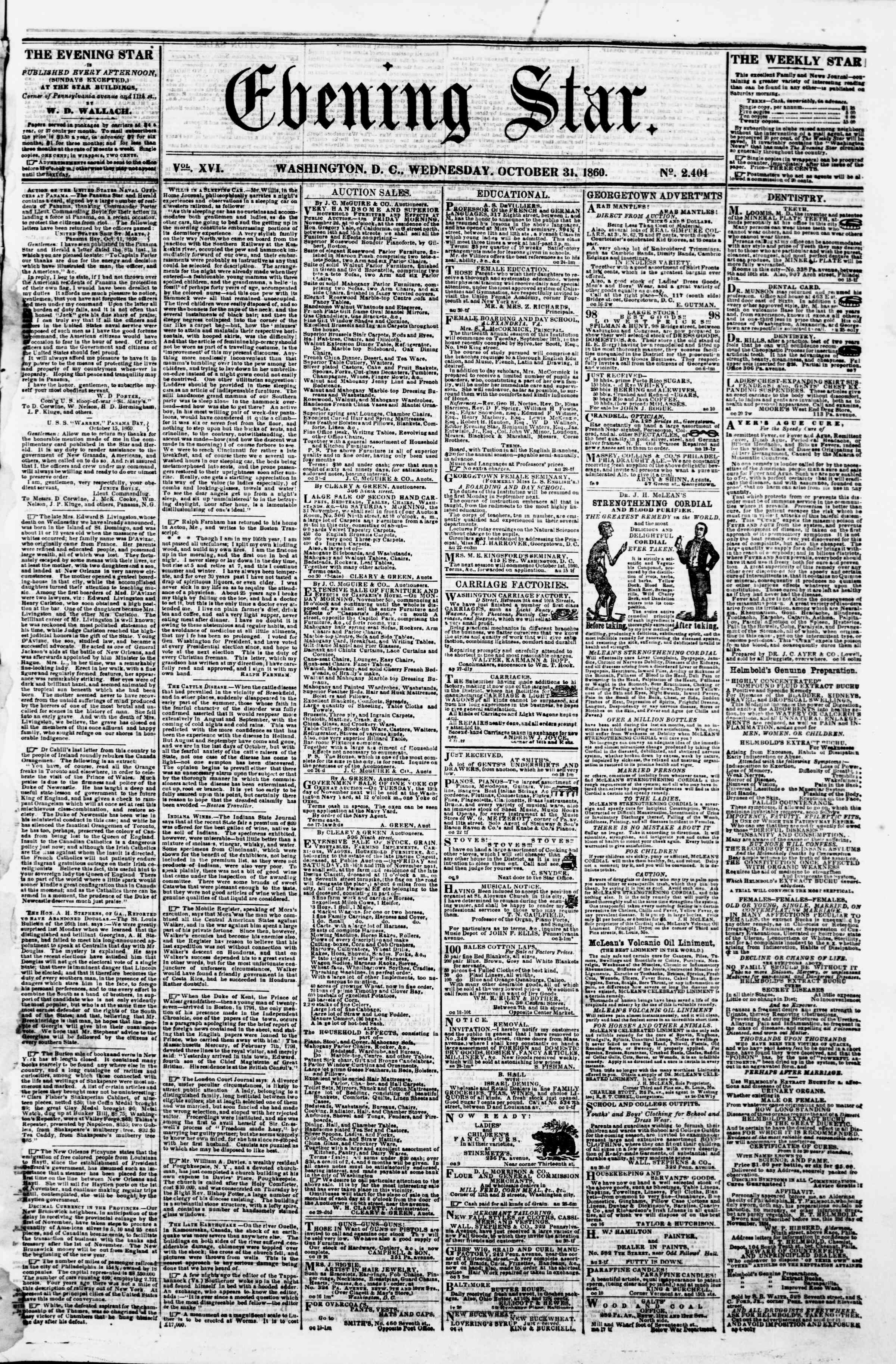 Newspaper of Evening Star dated October 31, 1860 Page 1