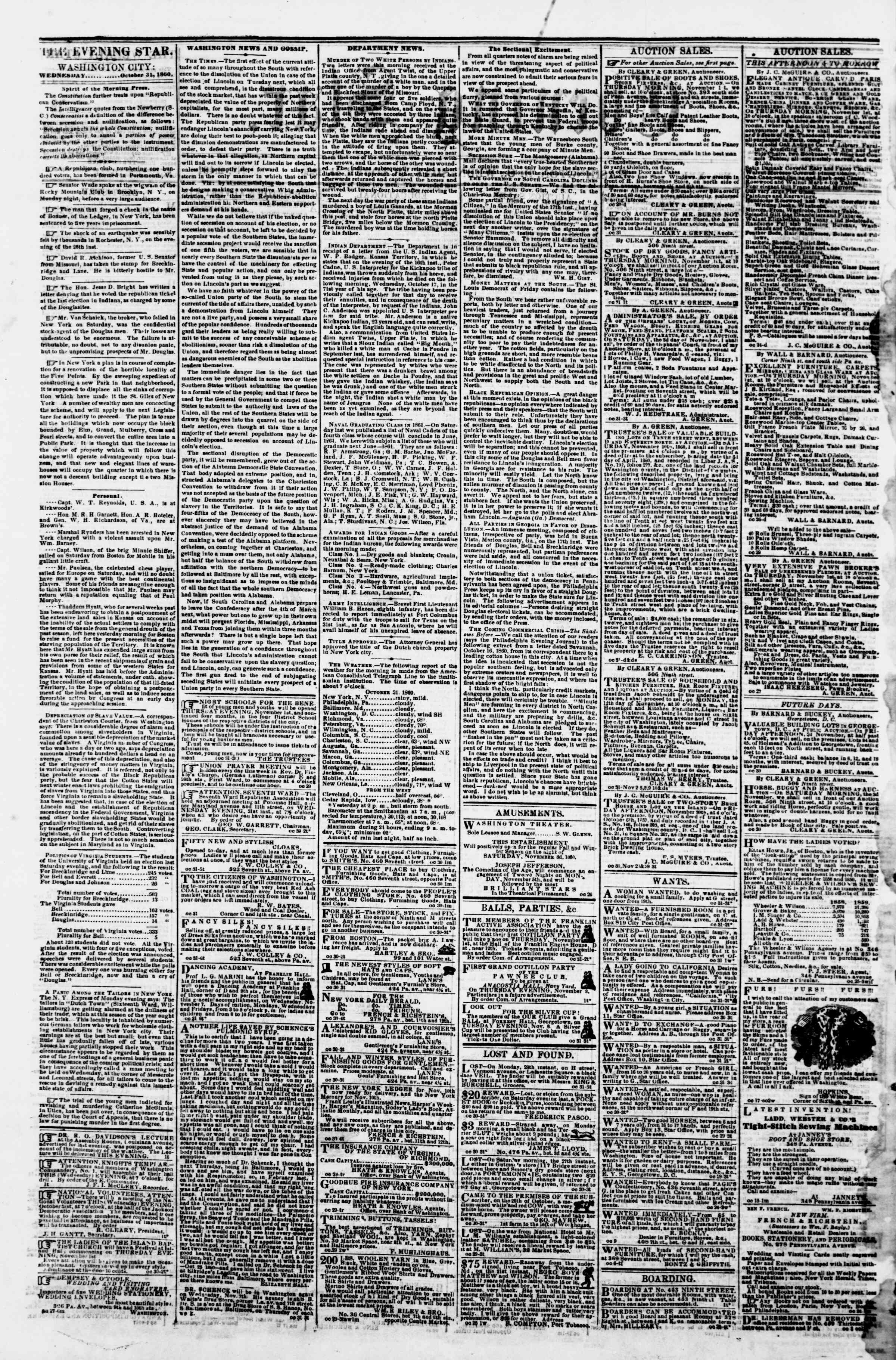 Newspaper of Evening Star dated October 31, 1860 Page 2