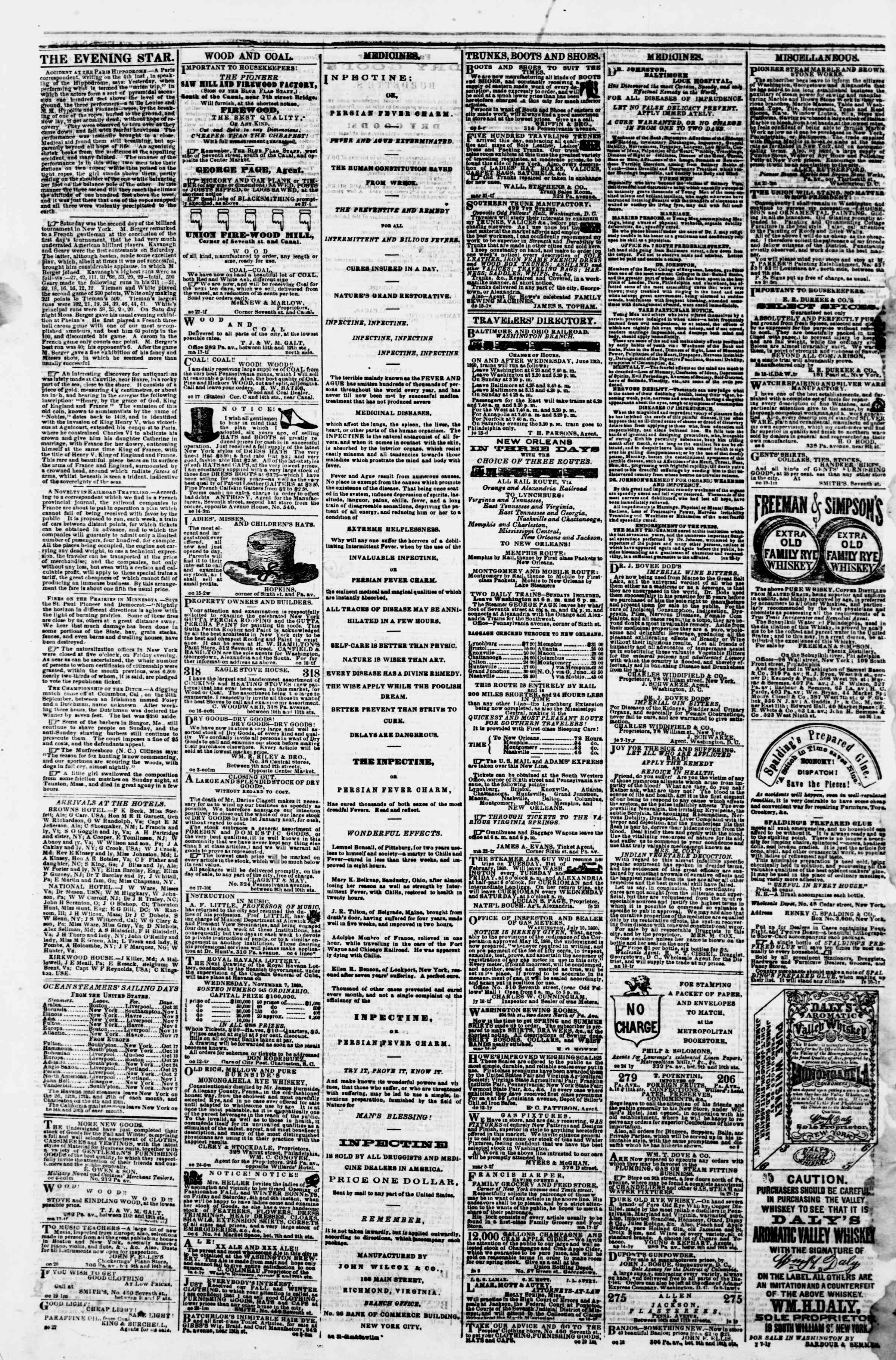 Newspaper of Evening Star dated October 31, 1860 Page 4