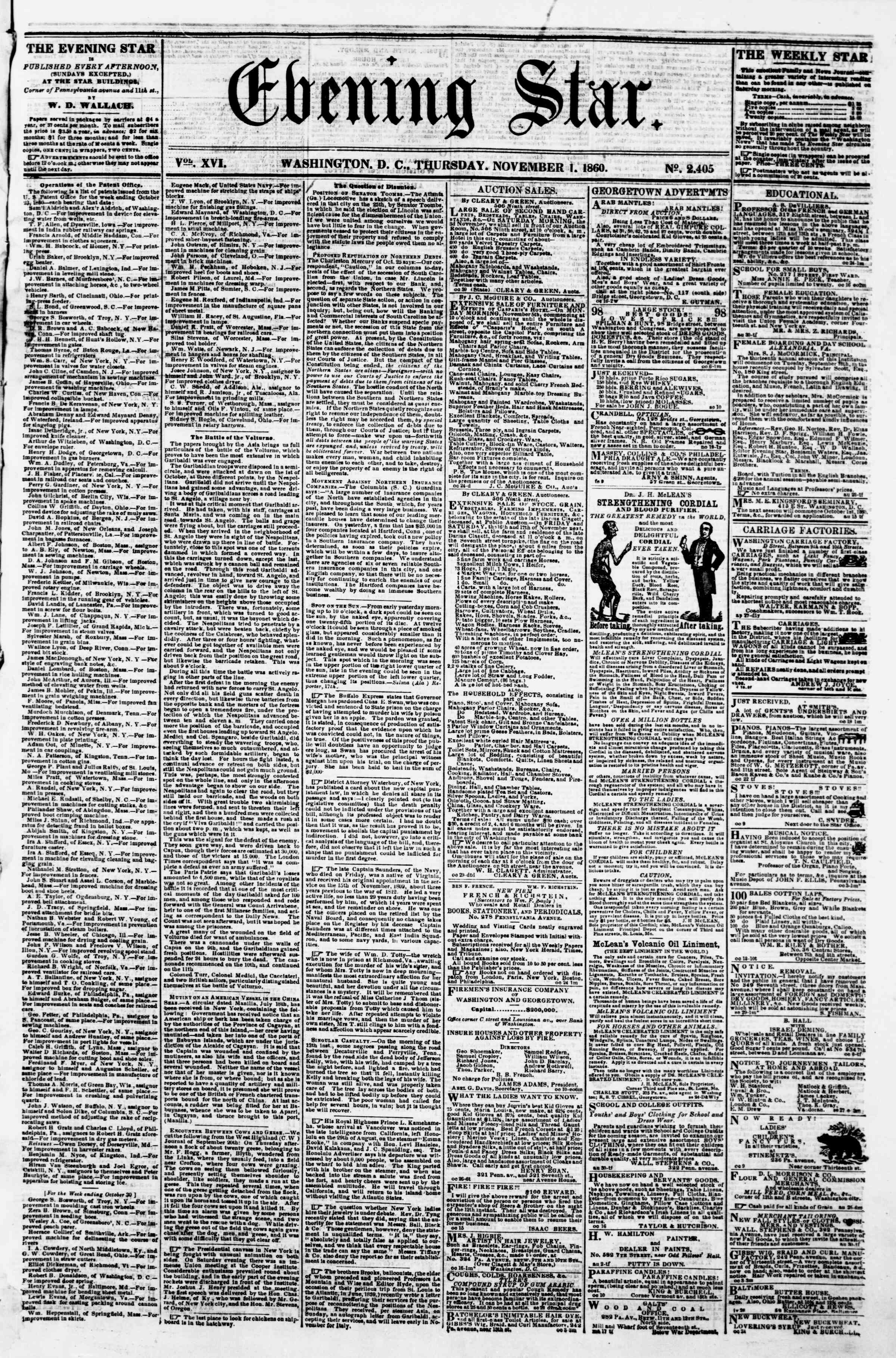 Newspaper of Evening Star dated November 1, 1860 Page 1
