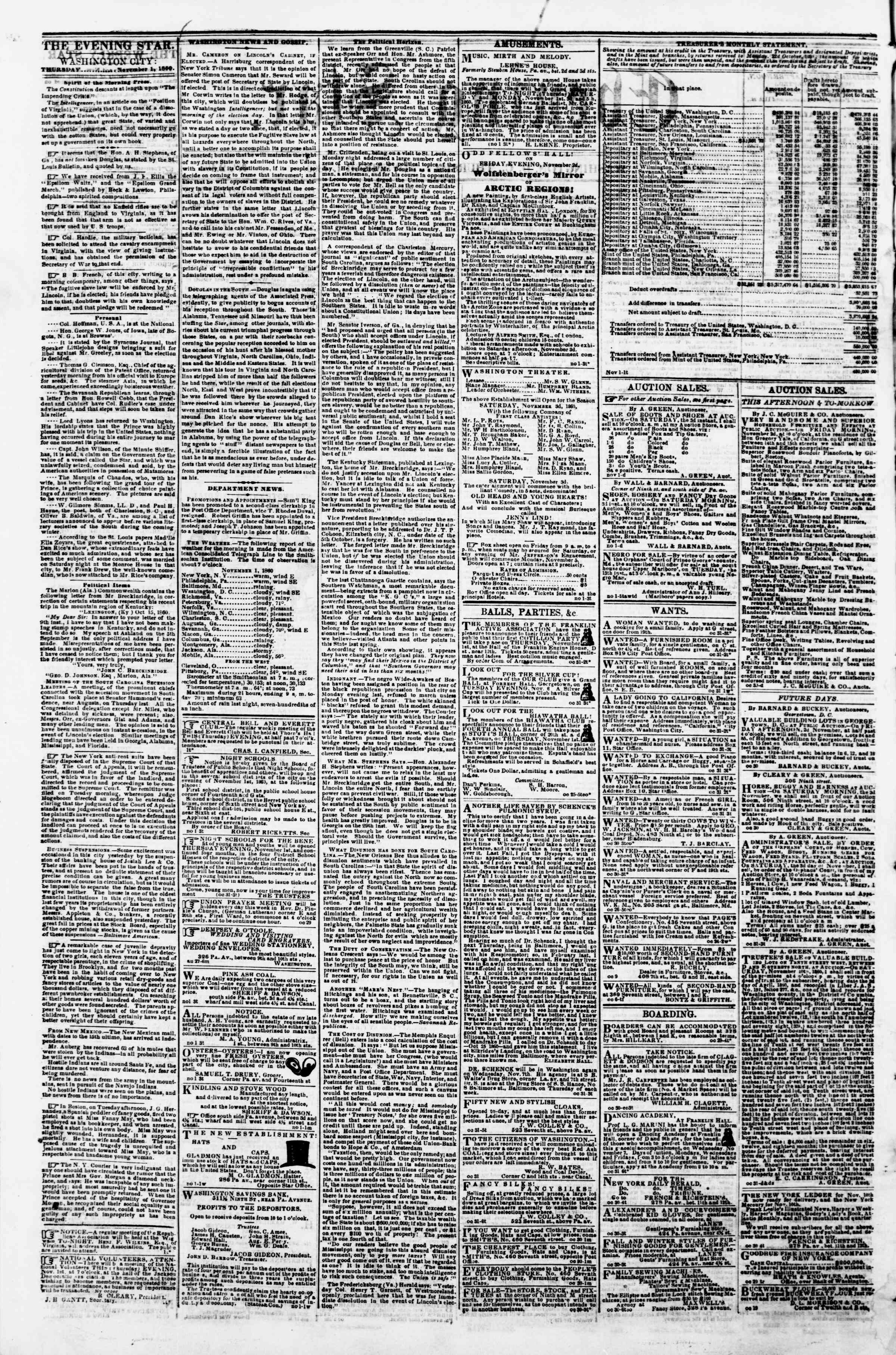 Newspaper of Evening Star dated November 1, 1860 Page 2