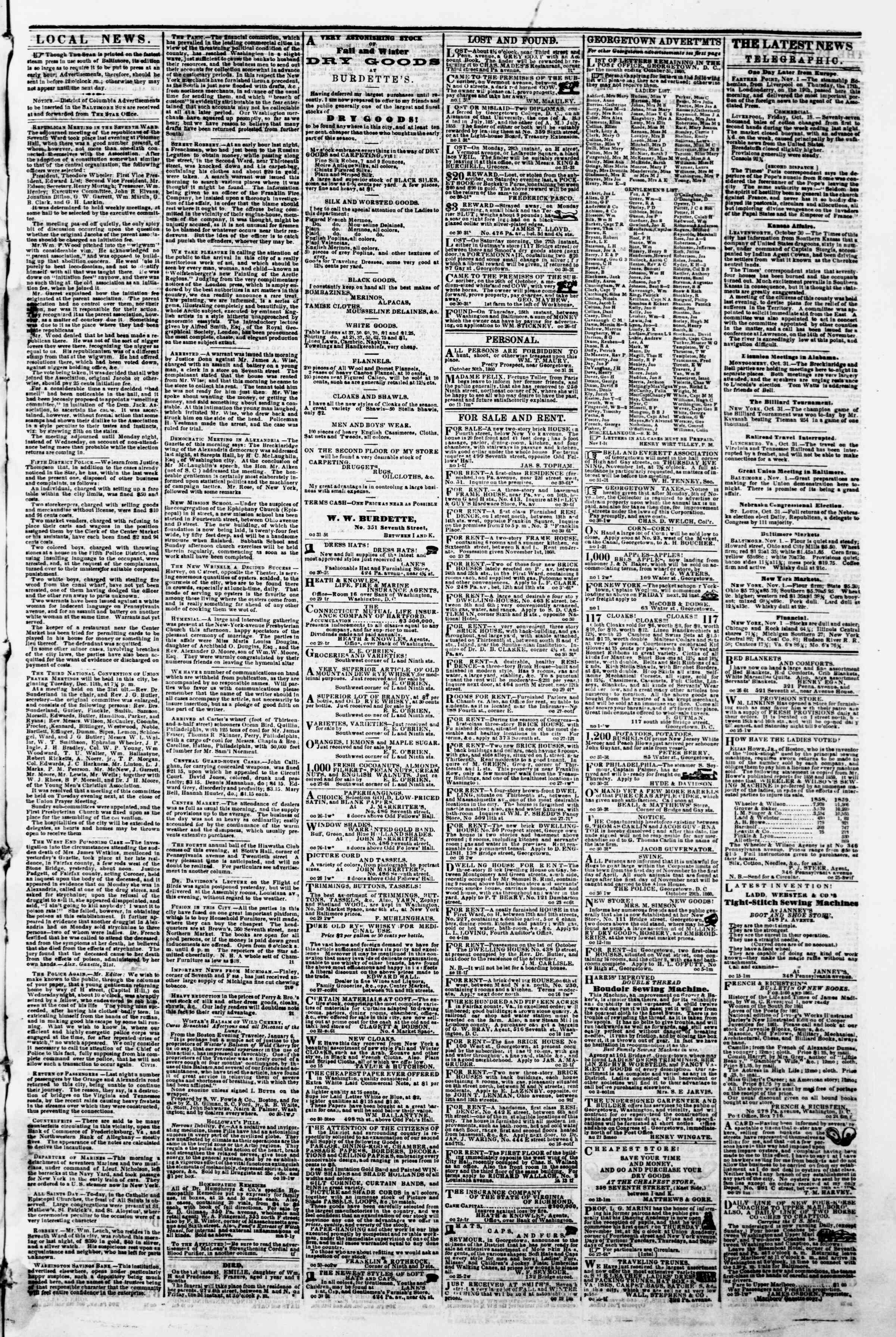 Newspaper of Evening Star dated November 1, 1860 Page 3