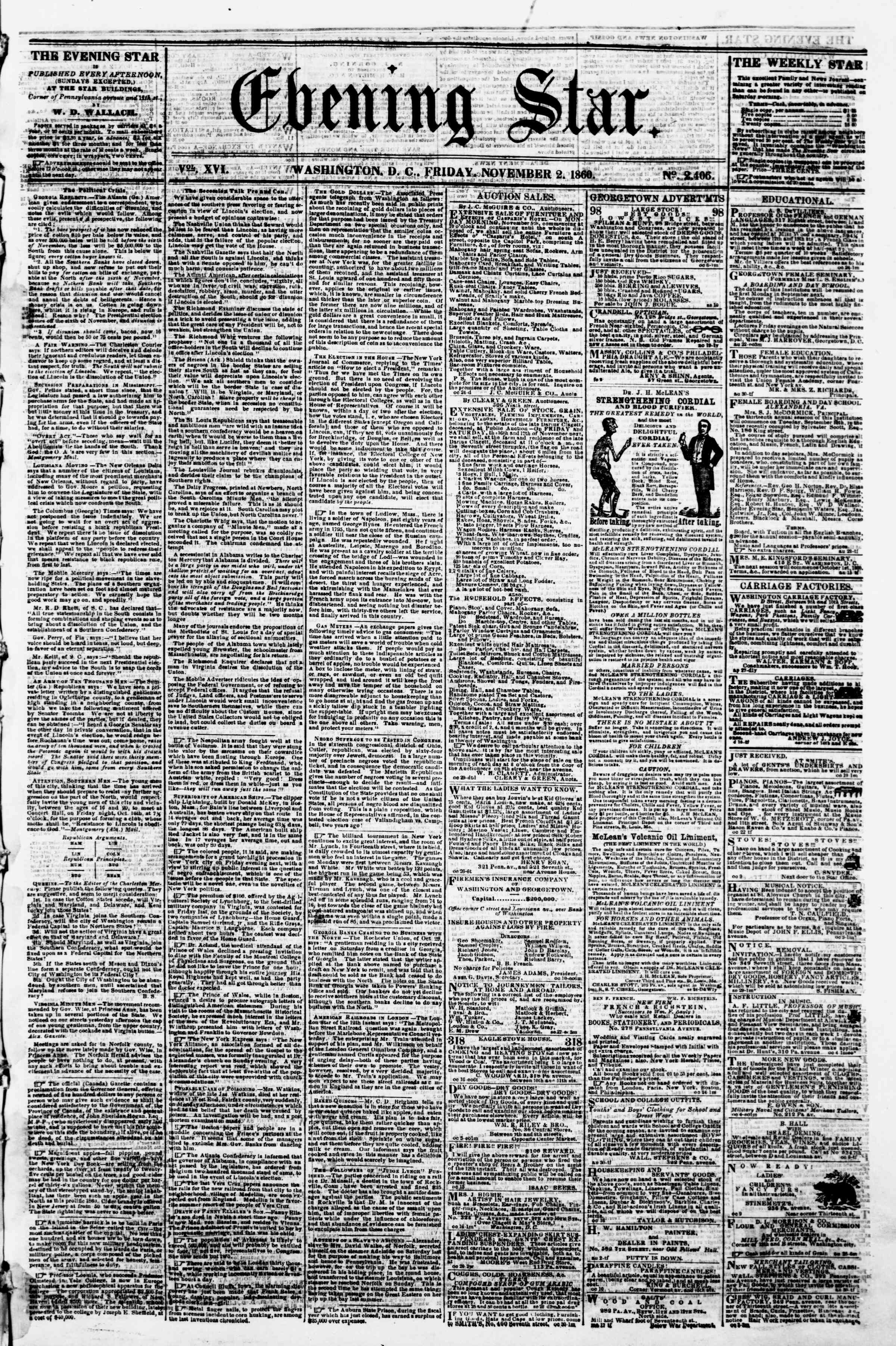 Newspaper of Evening Star dated November 2, 1860 Page 1