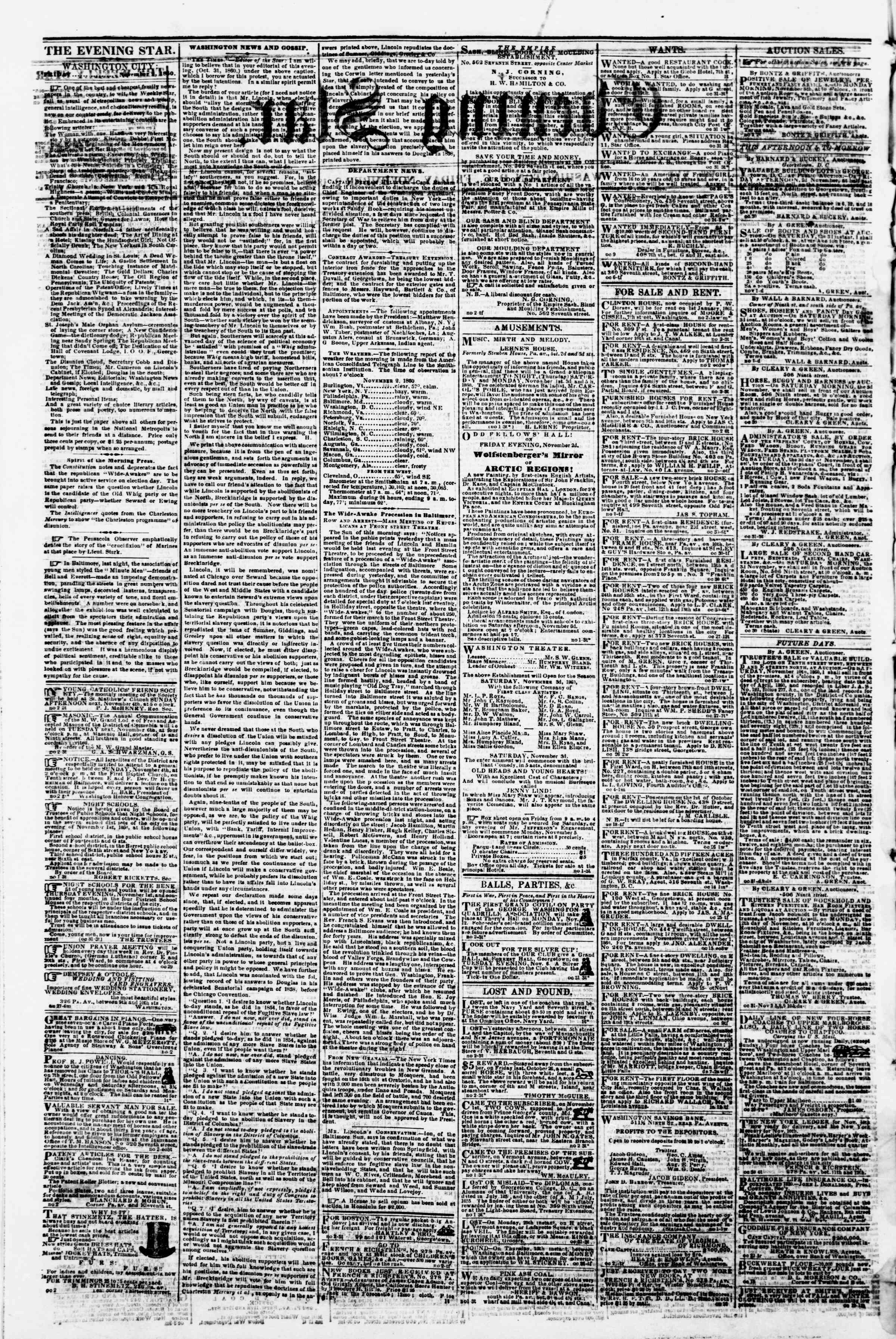 Newspaper of Evening Star dated November 2, 1860 Page 2