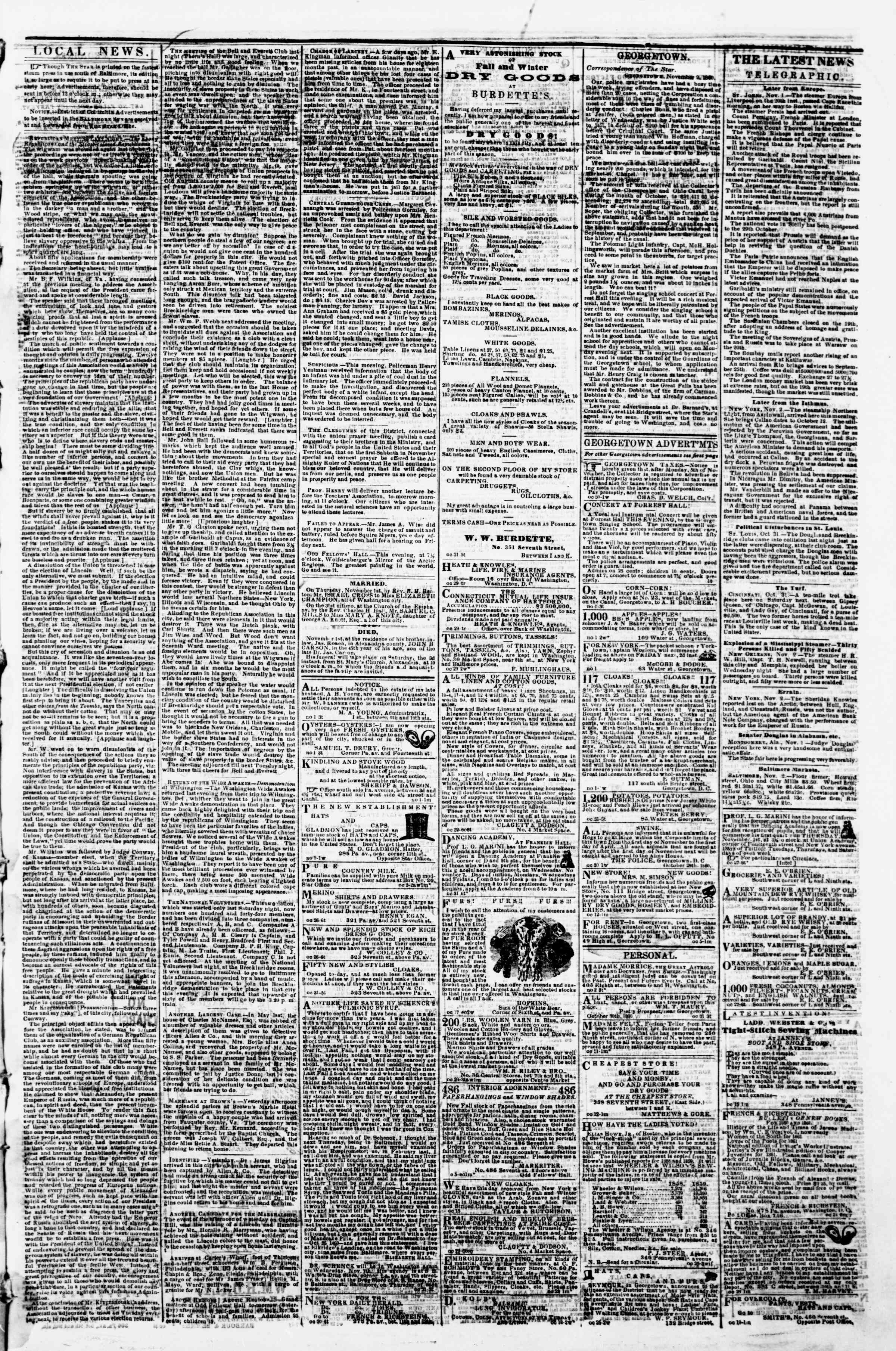 Newspaper of Evening Star dated November 2, 1860 Page 3