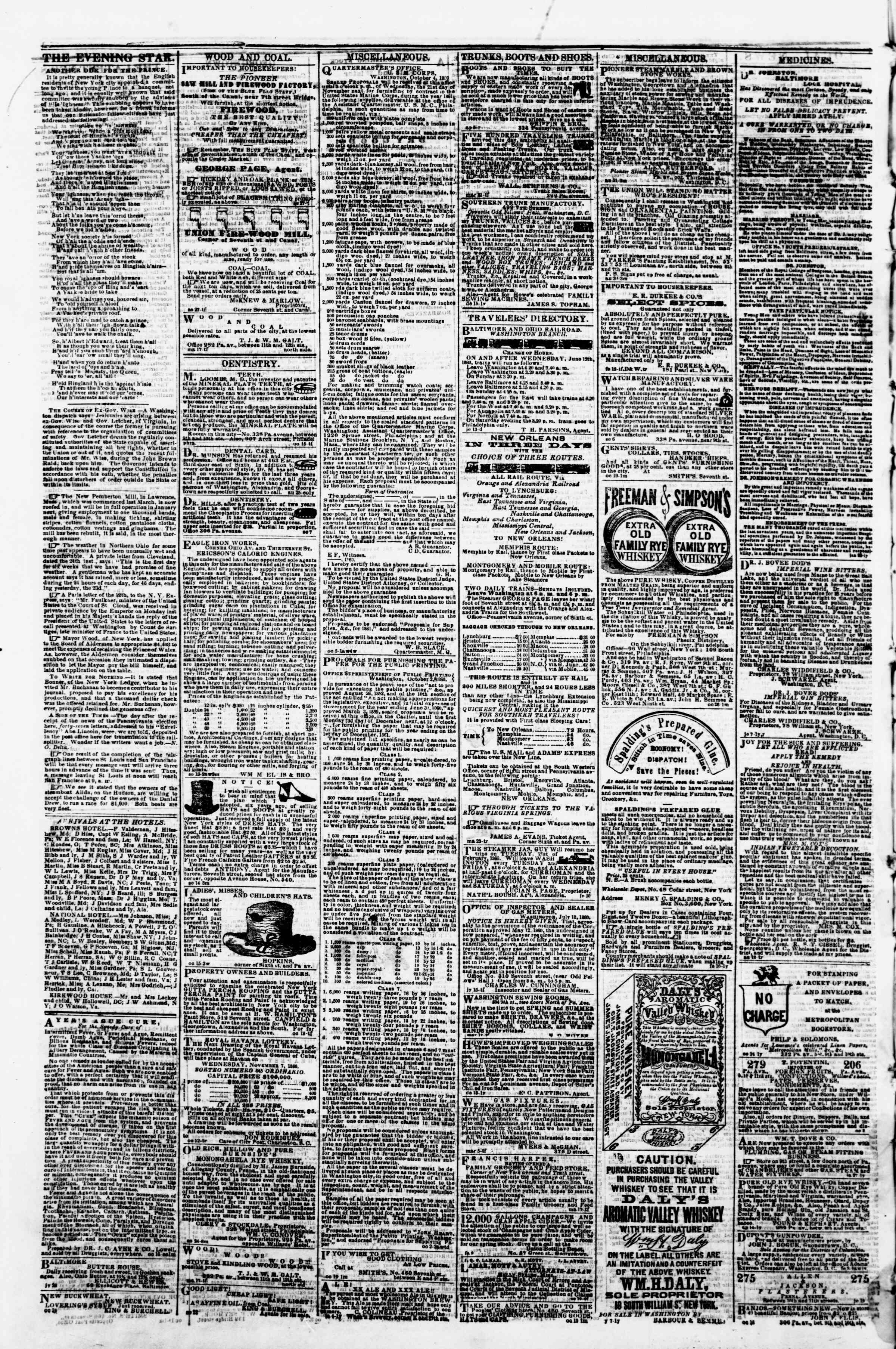 Newspaper of Evening Star dated November 2, 1860 Page 4