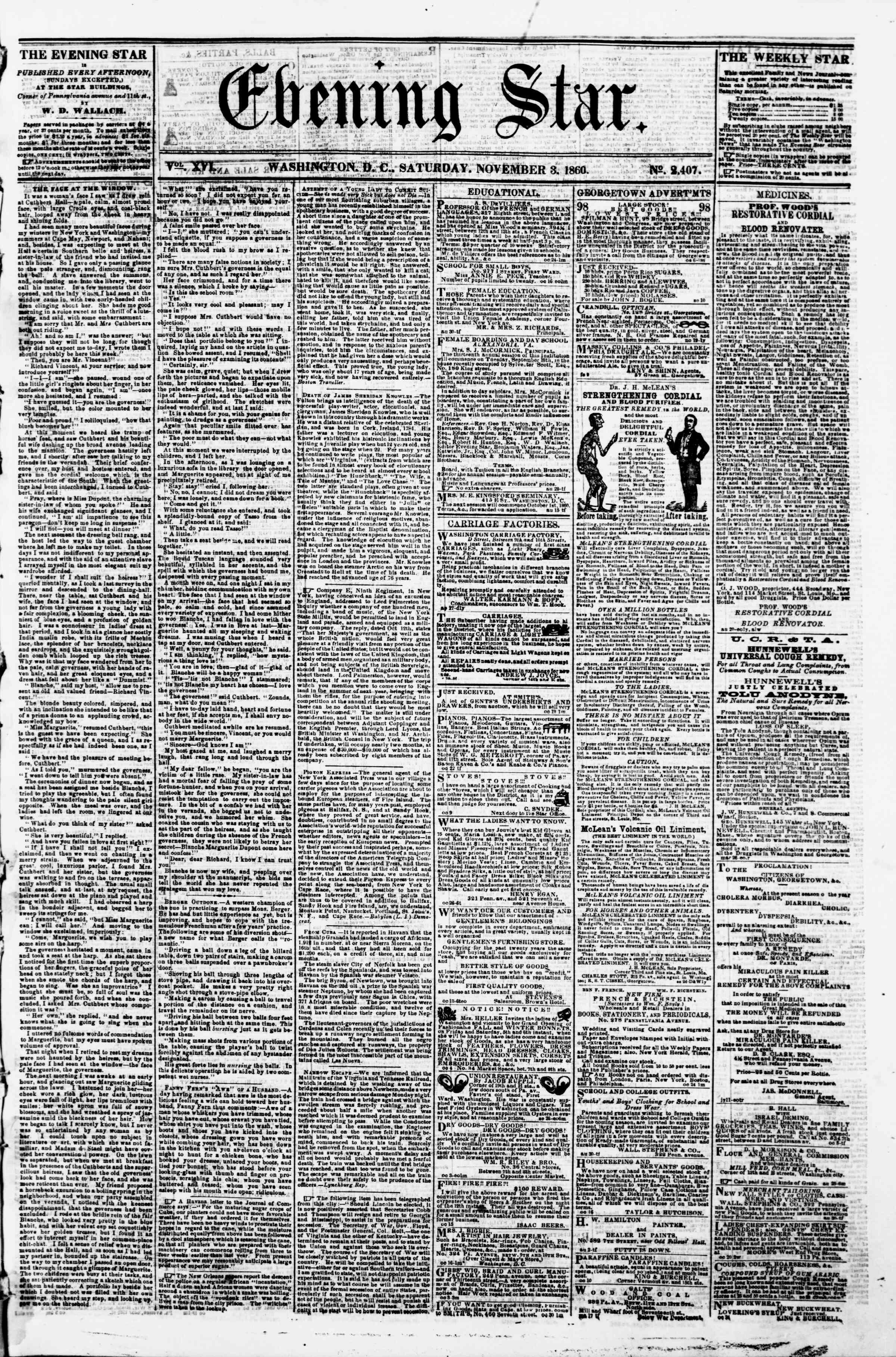 Newspaper of Evening Star dated 3 Kasım 1860 Page 1
