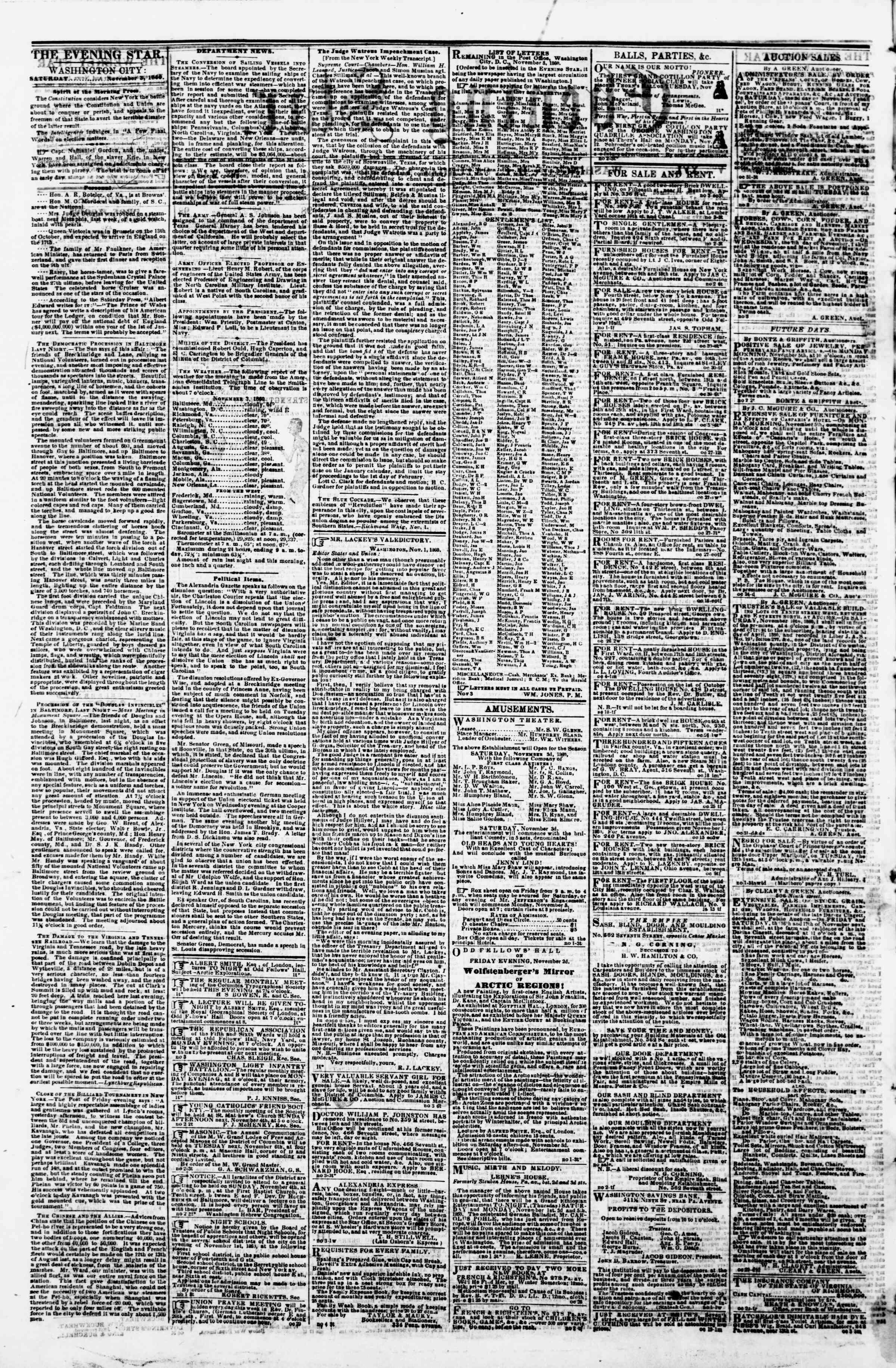 Newspaper of Evening Star dated November 3, 1860 Page 2