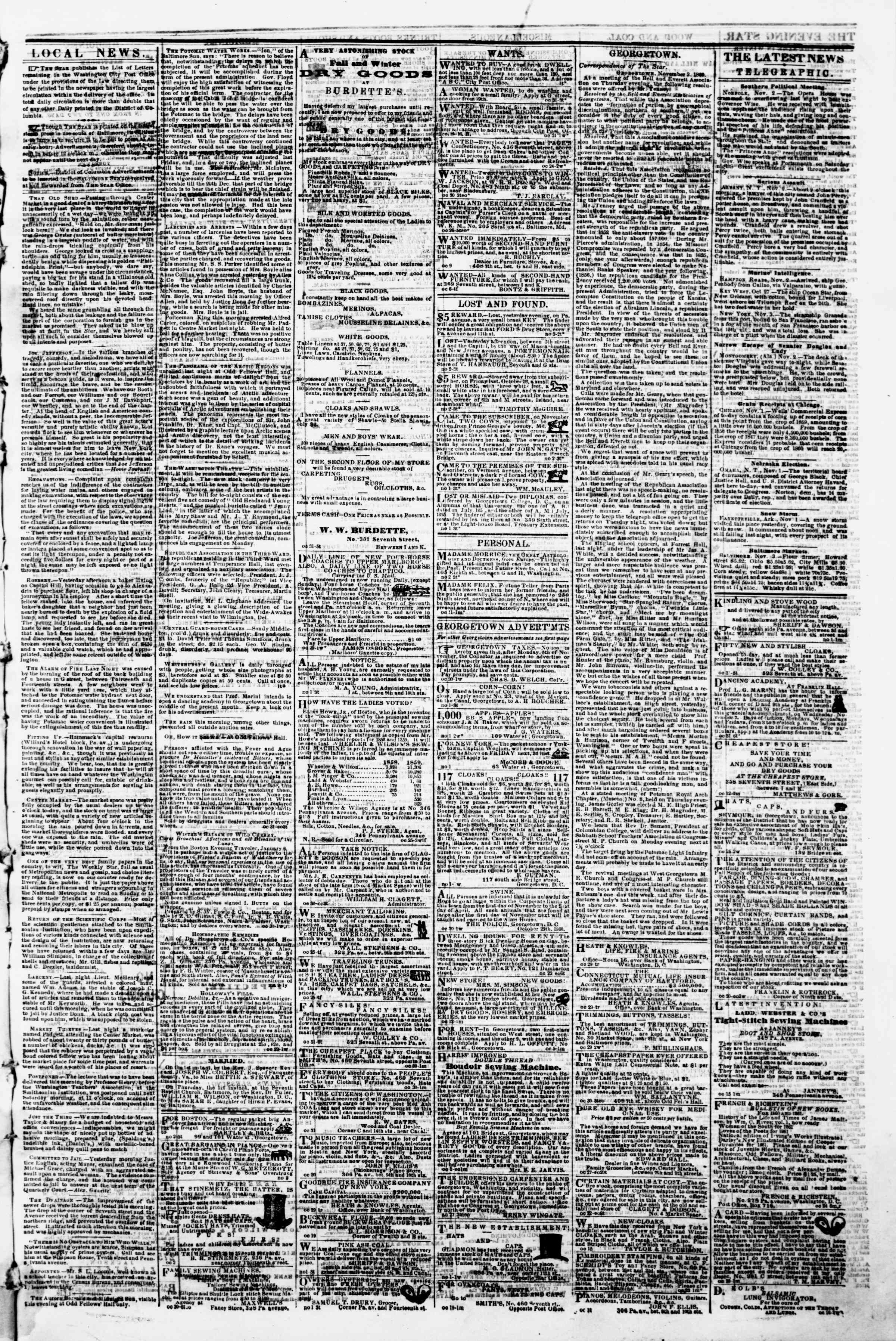 Newspaper of Evening Star dated November 3, 1860 Page 3