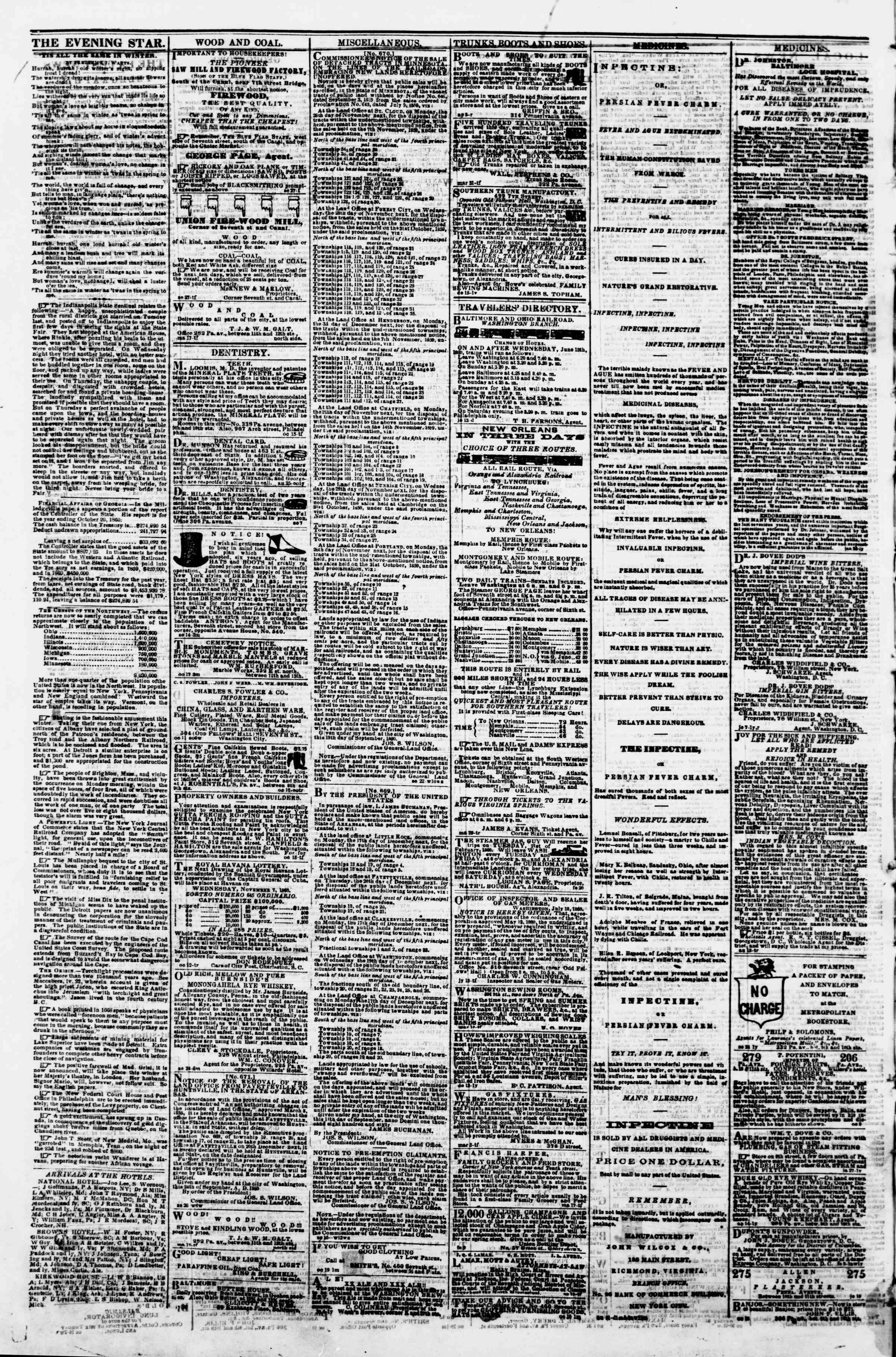 Newspaper of Evening Star dated November 3, 1860 Page 4
