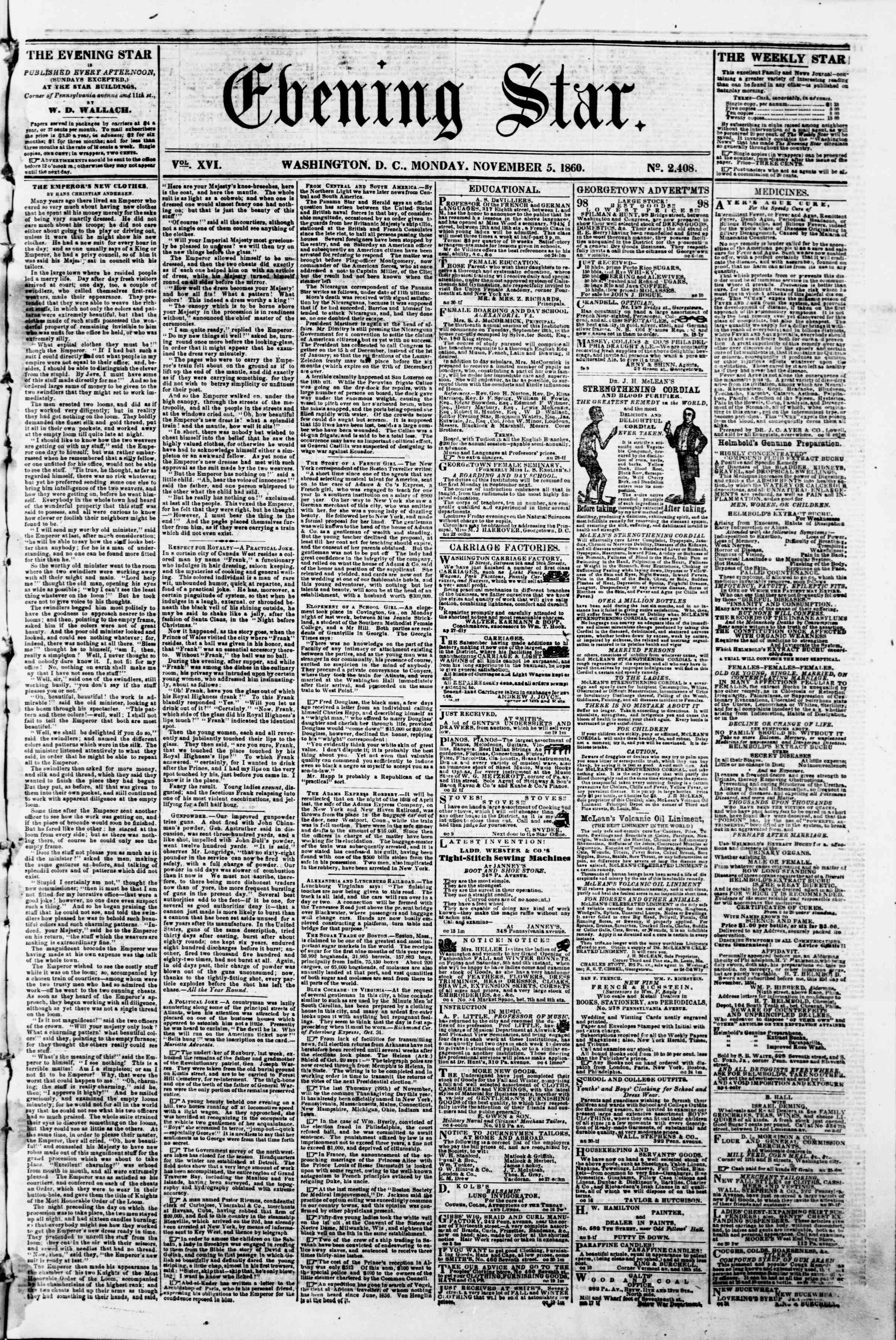 Newspaper of Evening Star dated November 5, 1860 Page 1