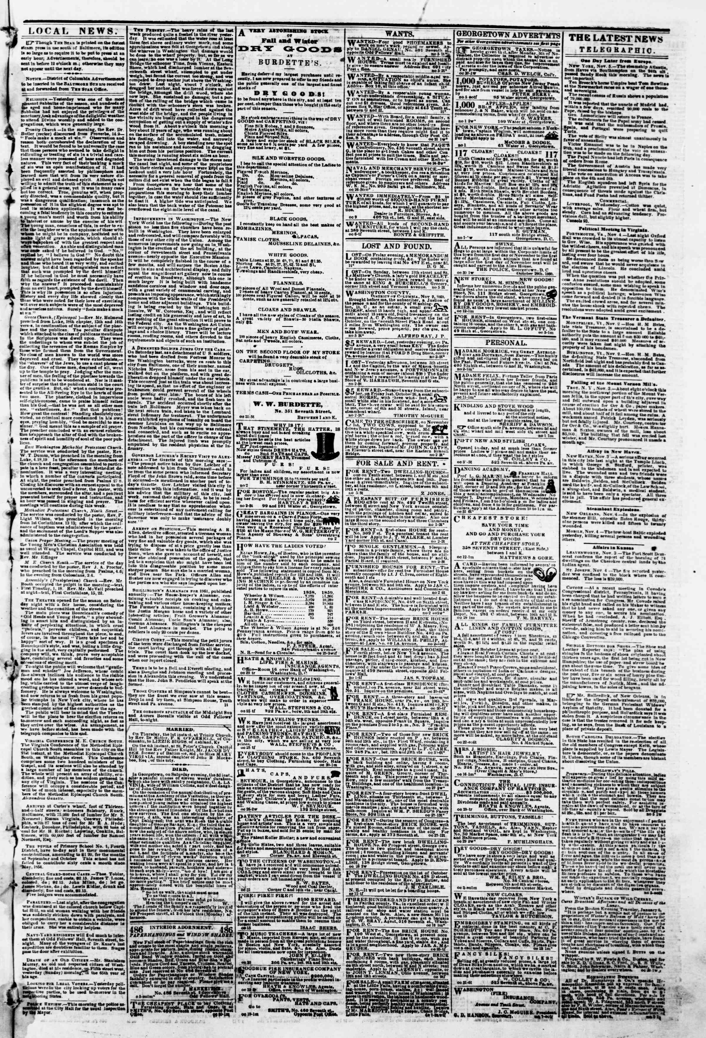 Newspaper of Evening Star dated November 5, 1860 Page 3