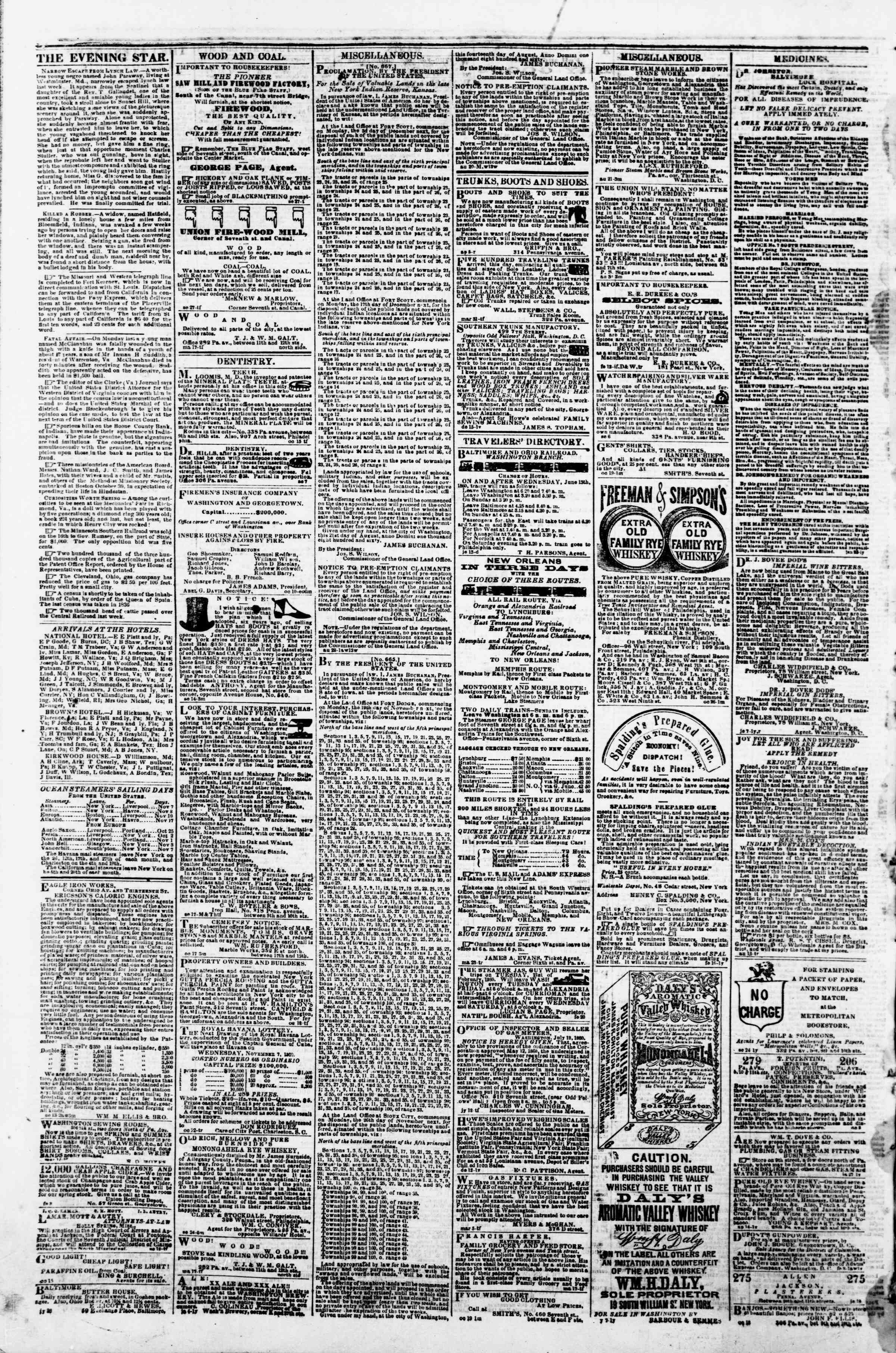 Newspaper of Evening Star dated November 5, 1860 Page 4