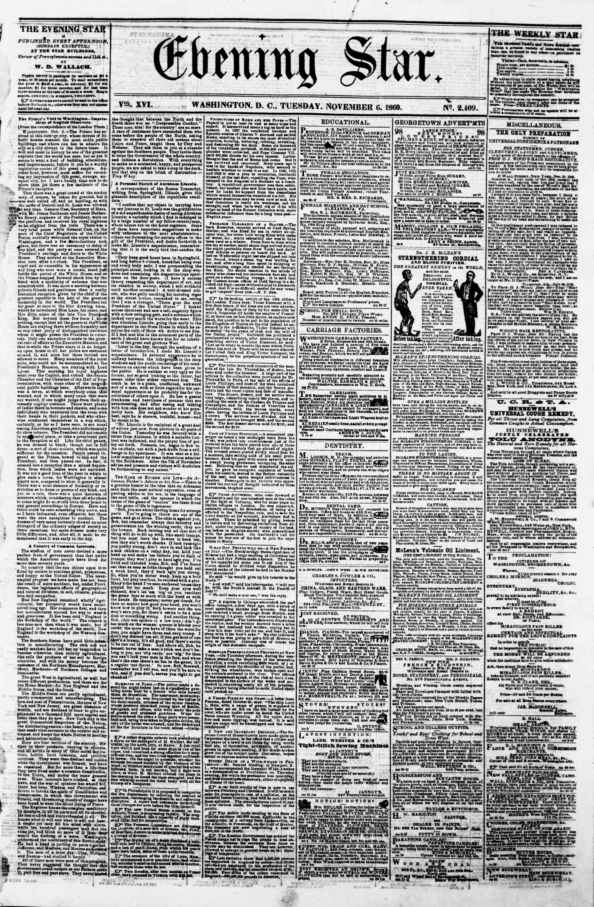 Newspaper of Evening Star dated November 6, 1860 Page 1