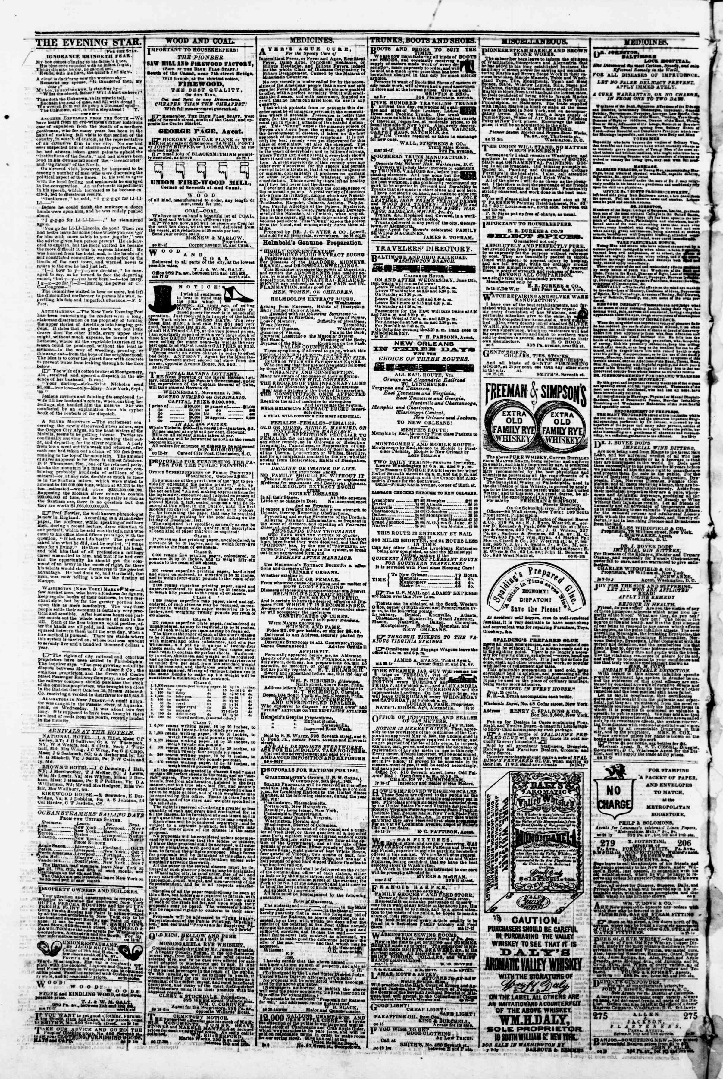 Newspaper of Evening Star dated November 6, 1860 Page 4