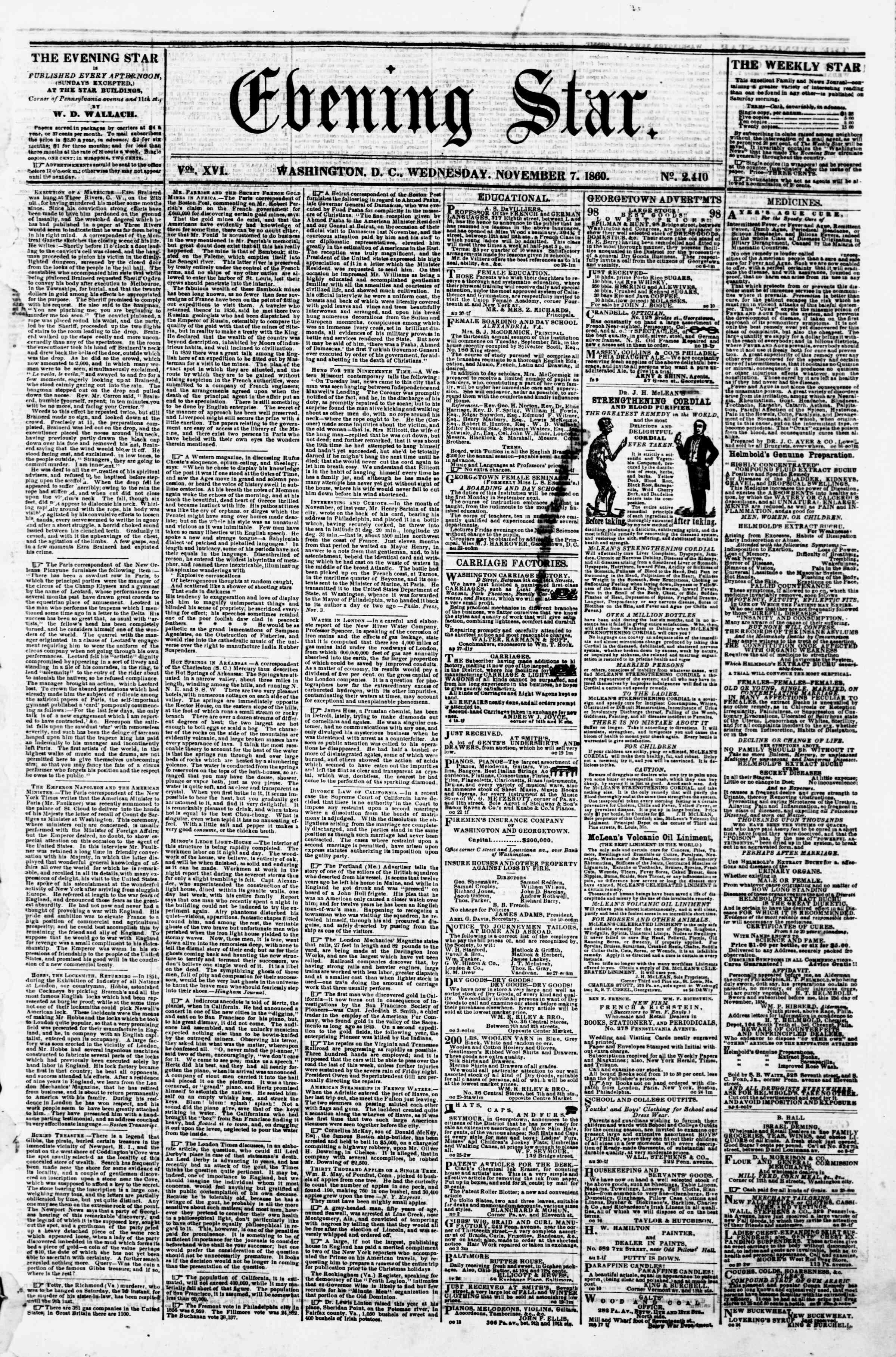 7 Kasım 1860 tarihli Evening Star Gazetesi Sayfa 1