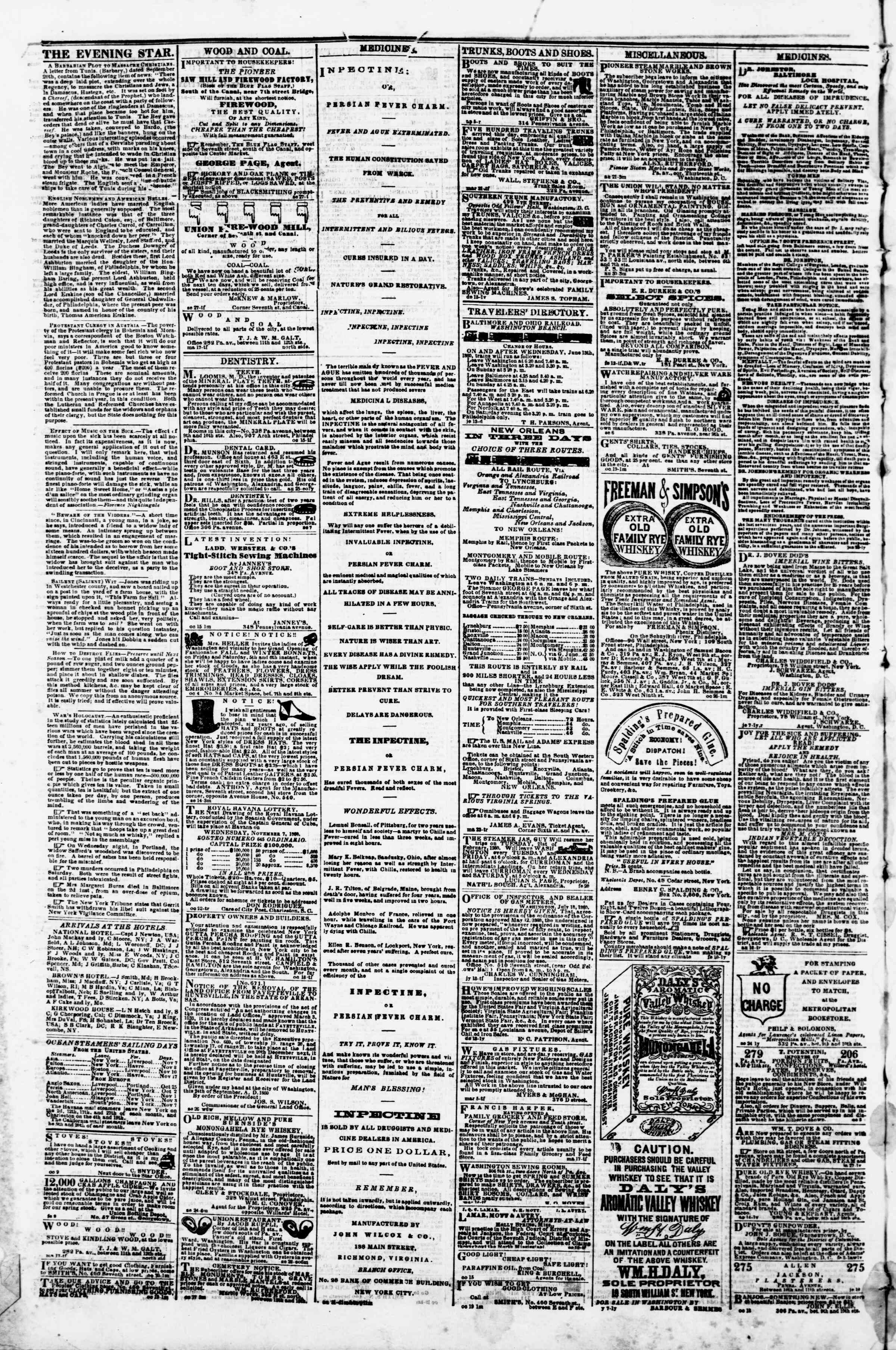Newspaper of Evening Star dated November 7, 1860 Page 2