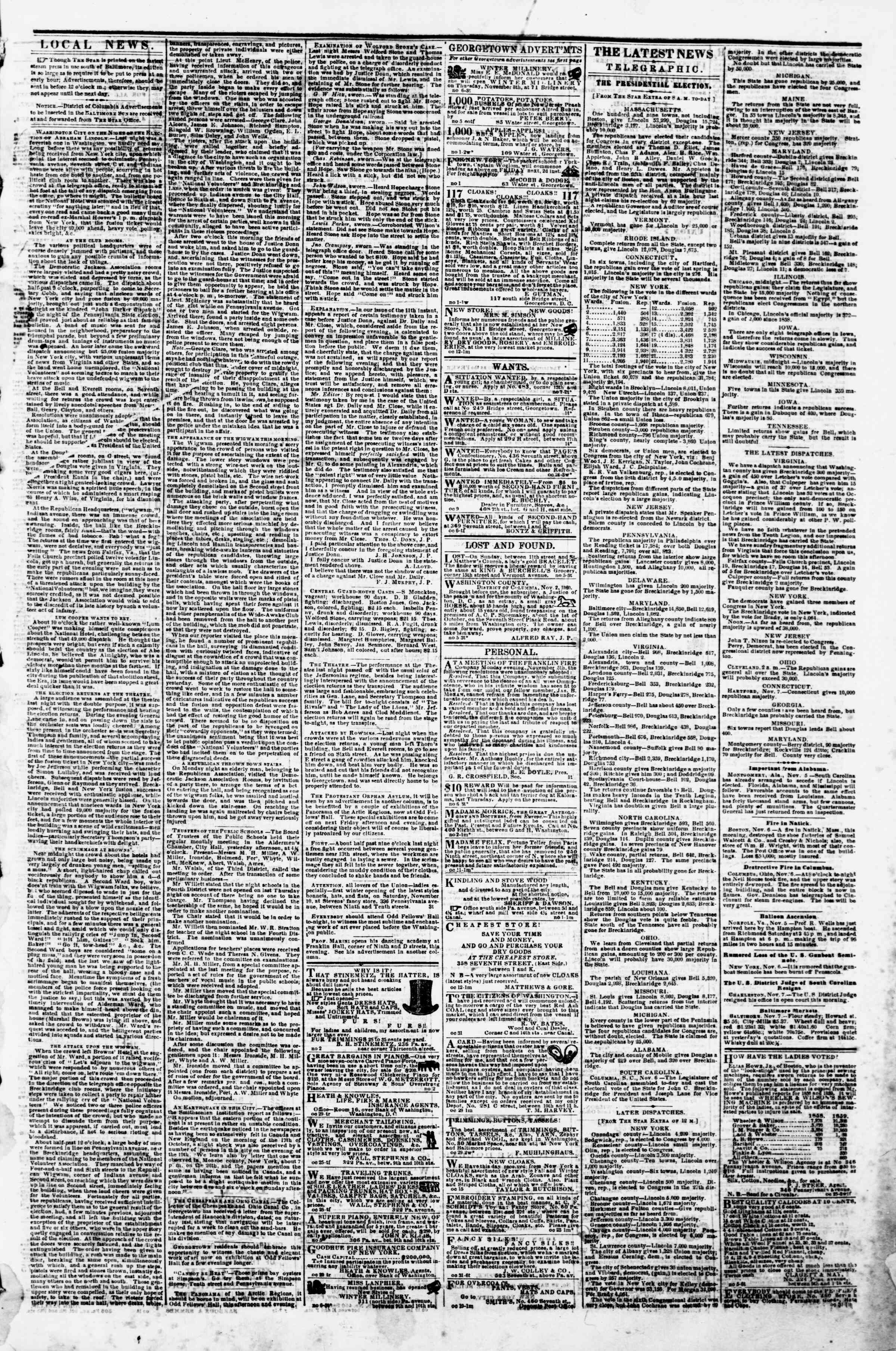 Newspaper of Evening Star dated November 7, 1860 Page 3