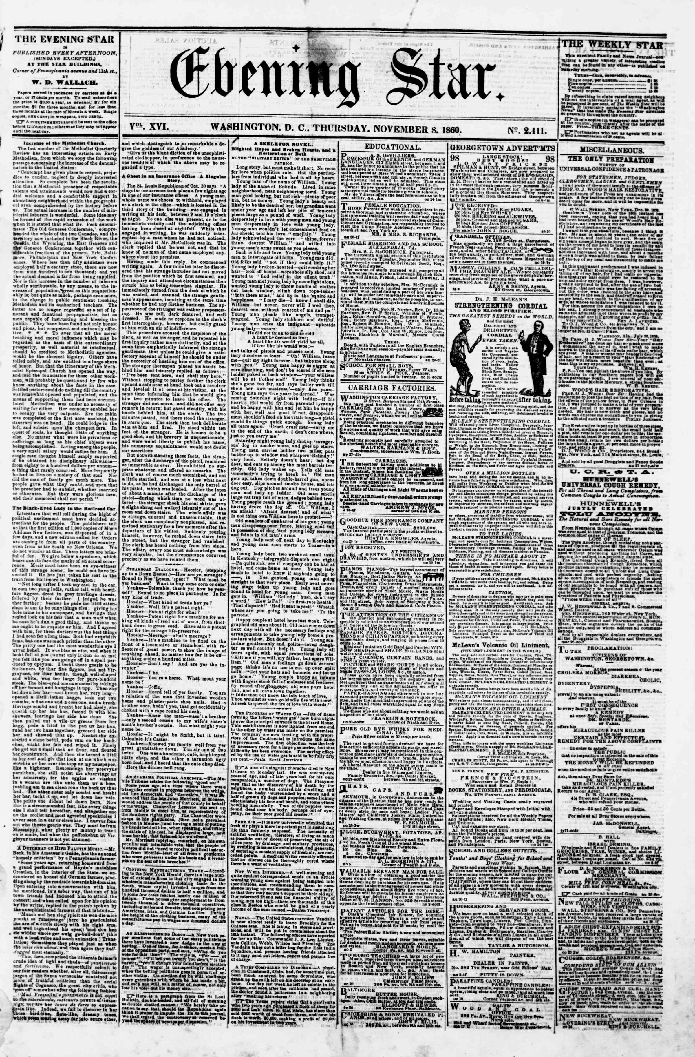 Newspaper of Evening Star dated November 8, 1860 Page 1