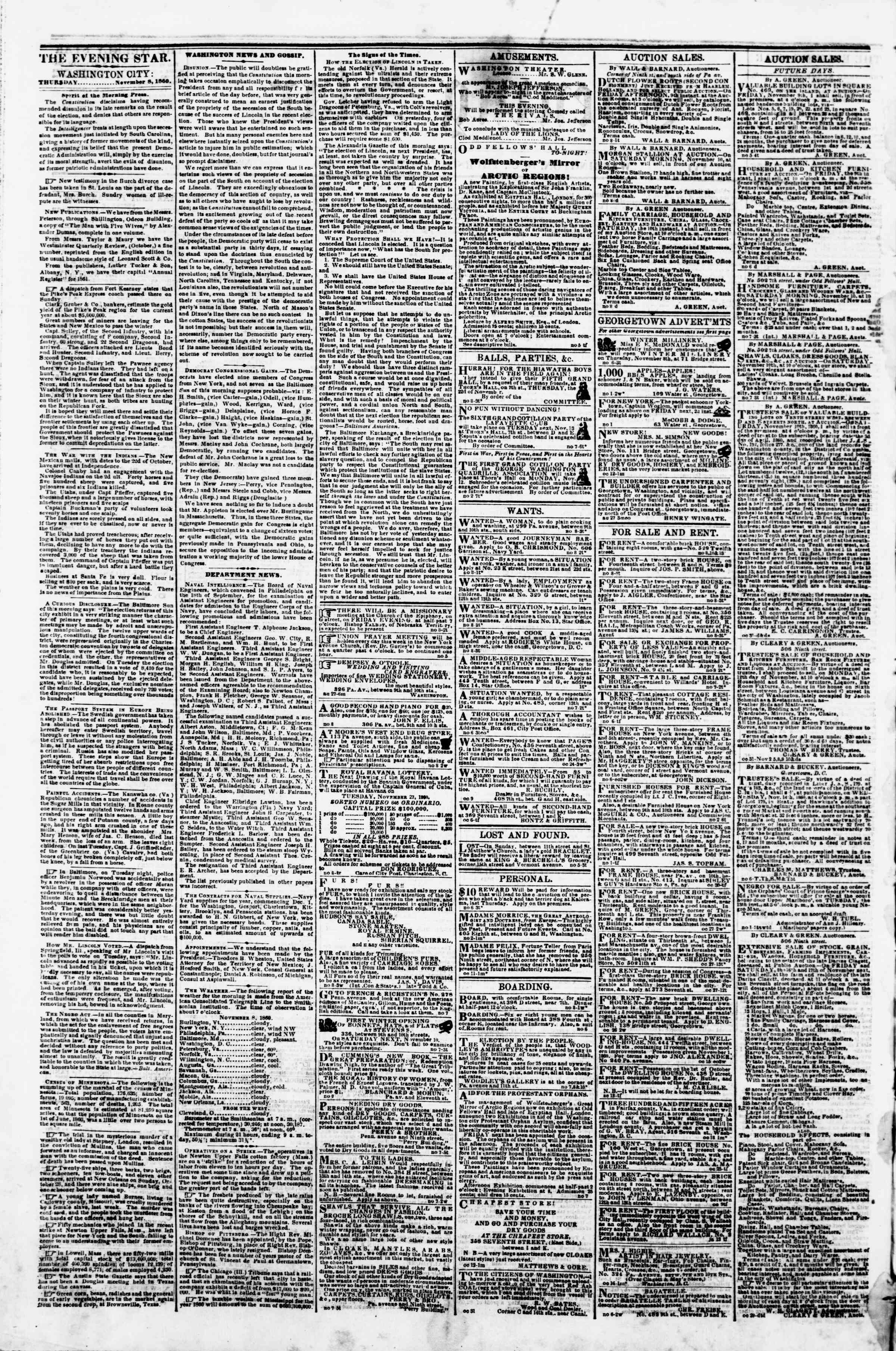 Newspaper of Evening Star dated November 8, 1860 Page 2