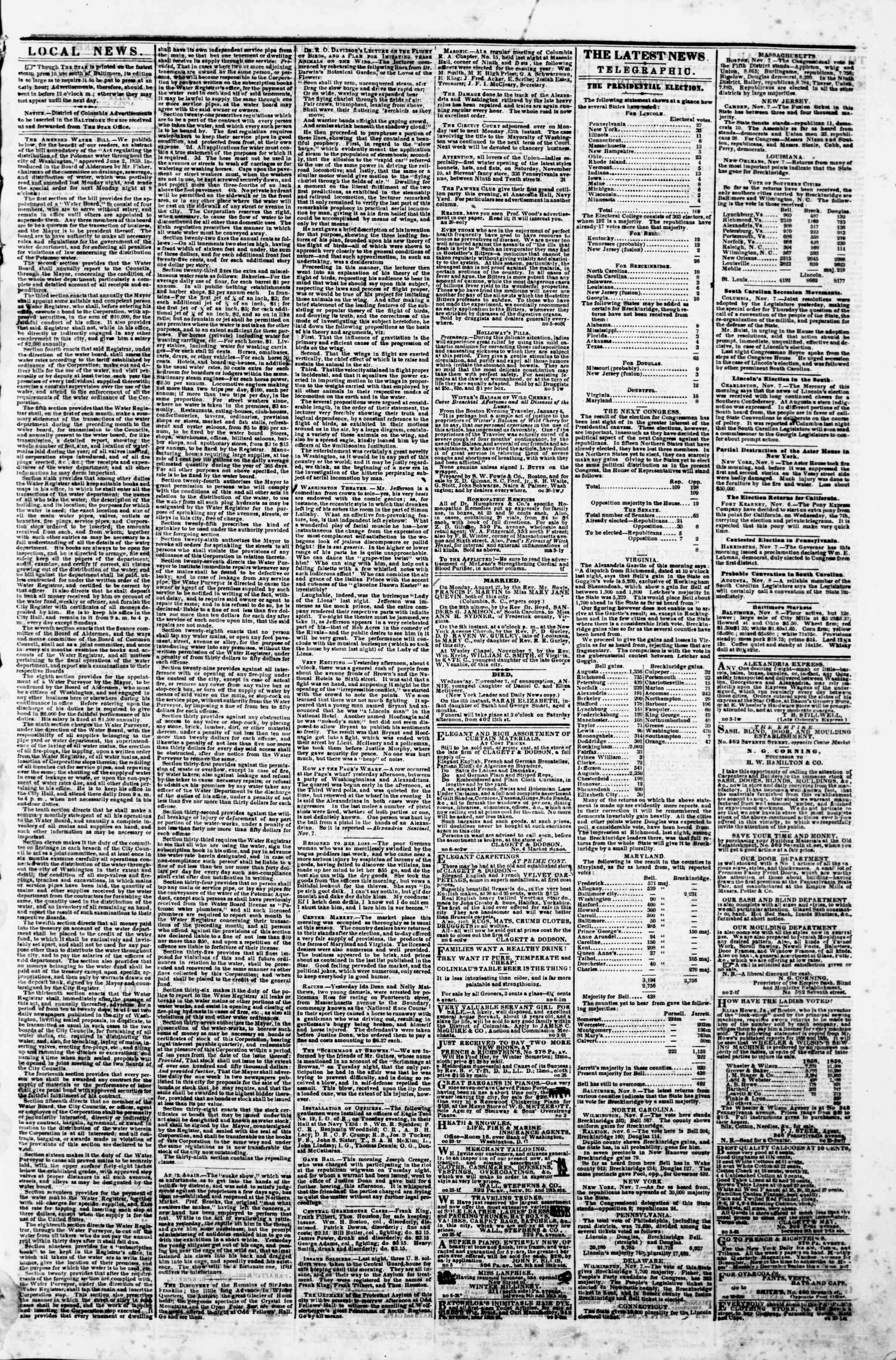 Newspaper of Evening Star dated November 8, 1860 Page 3