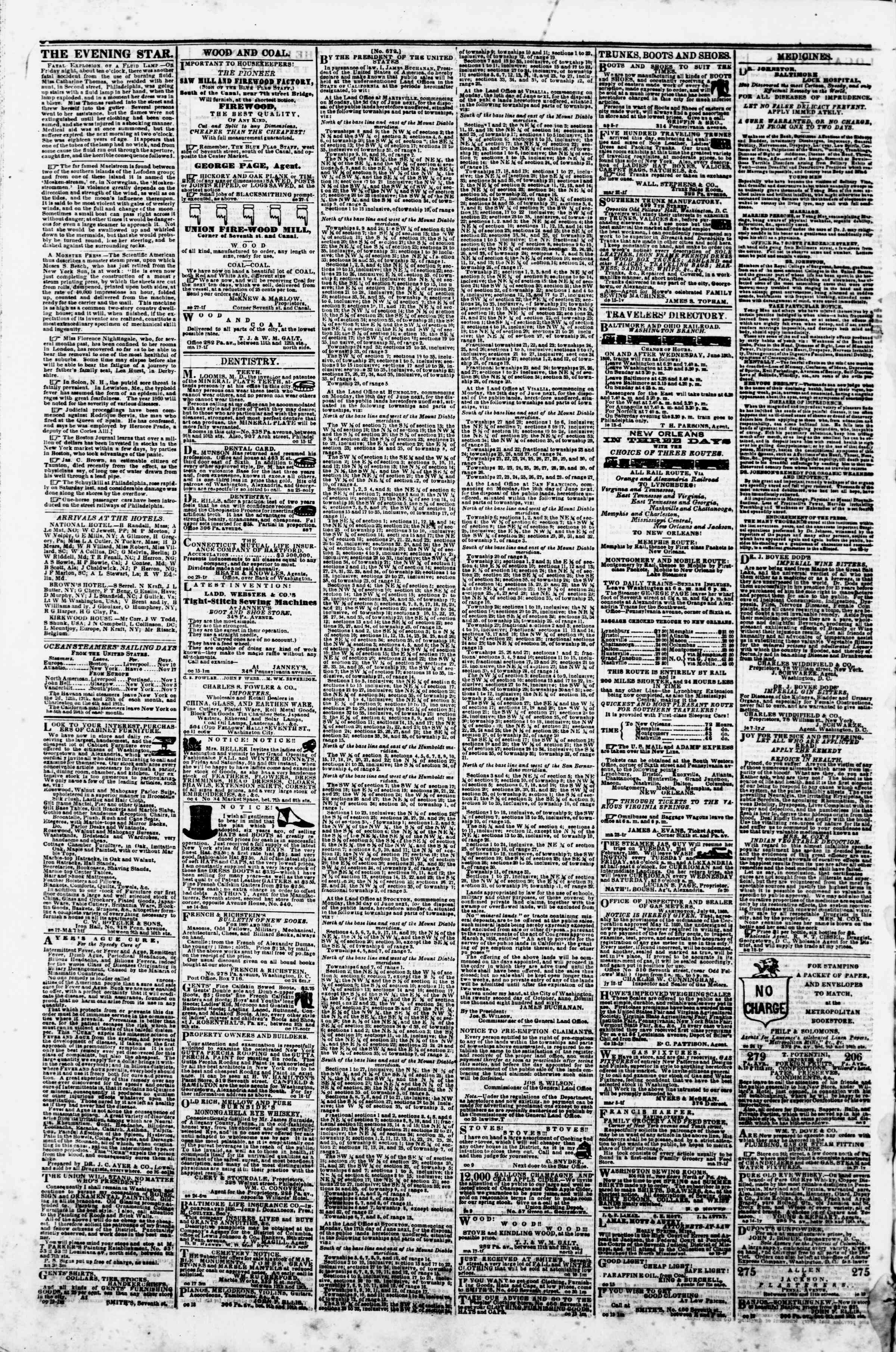 Newspaper of Evening Star dated November 8, 1860 Page 4