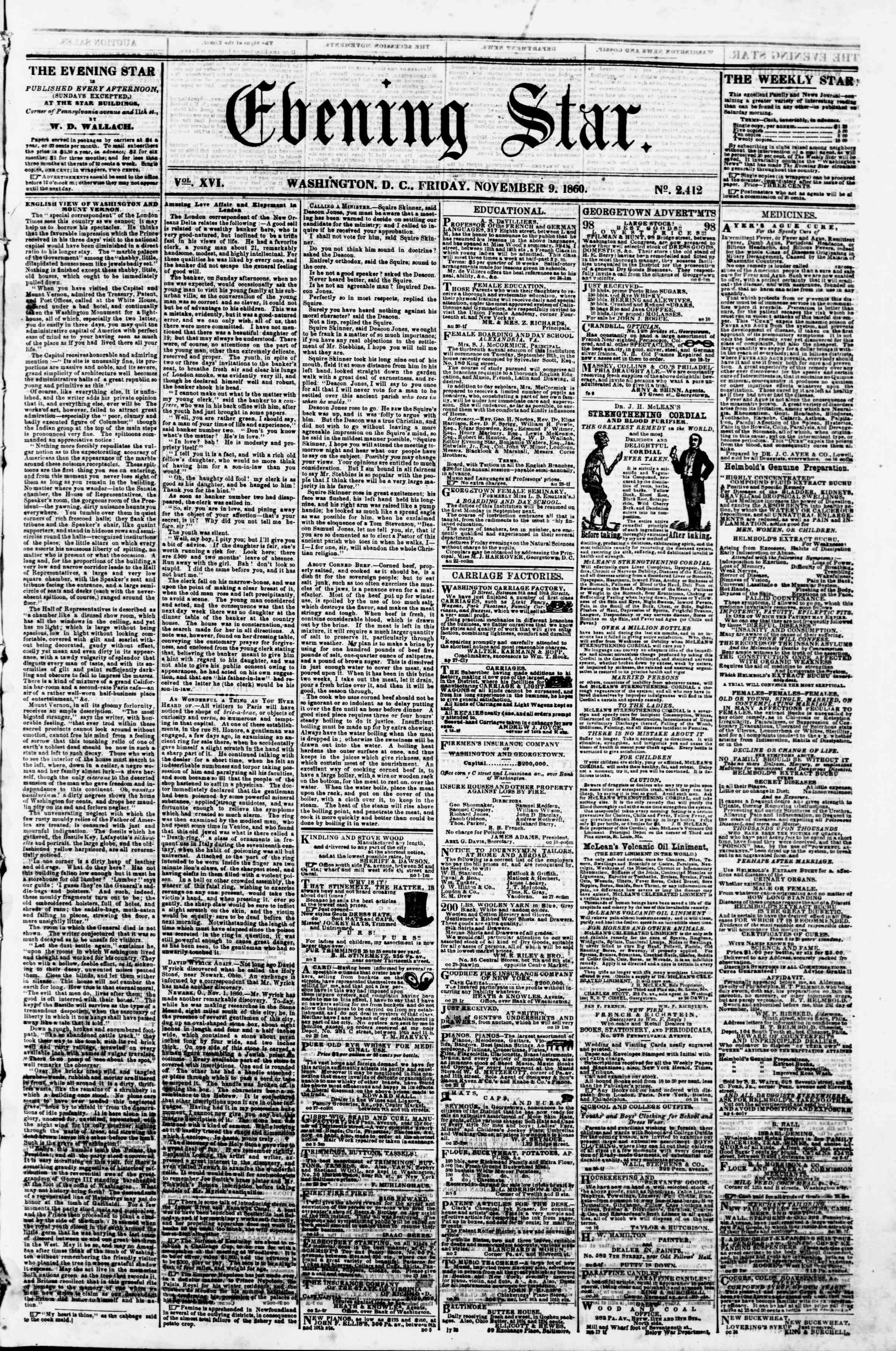 Newspaper of Evening Star dated November 9, 1860 Page 1