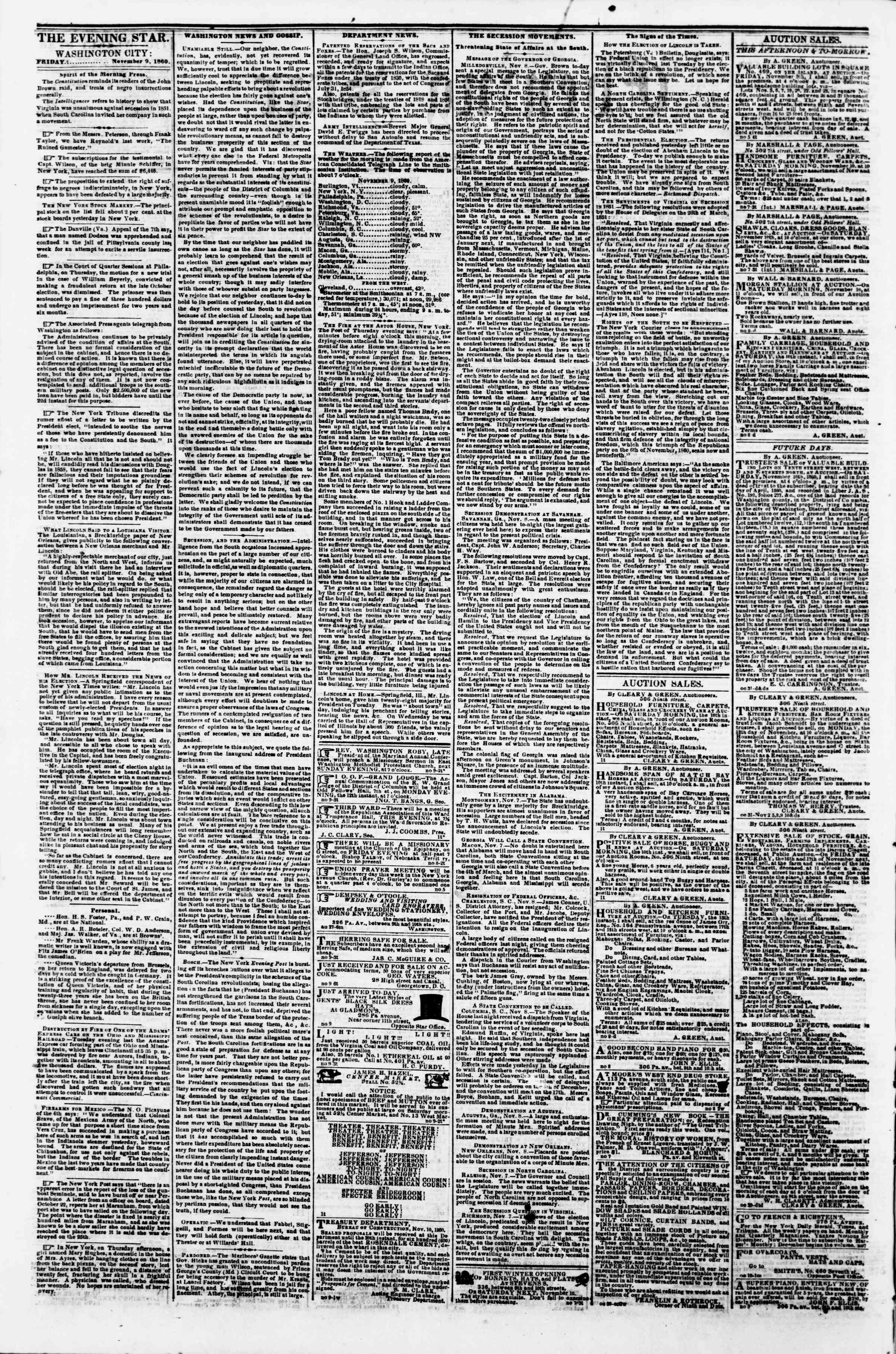 Newspaper of Evening Star dated November 9, 1860 Page 2