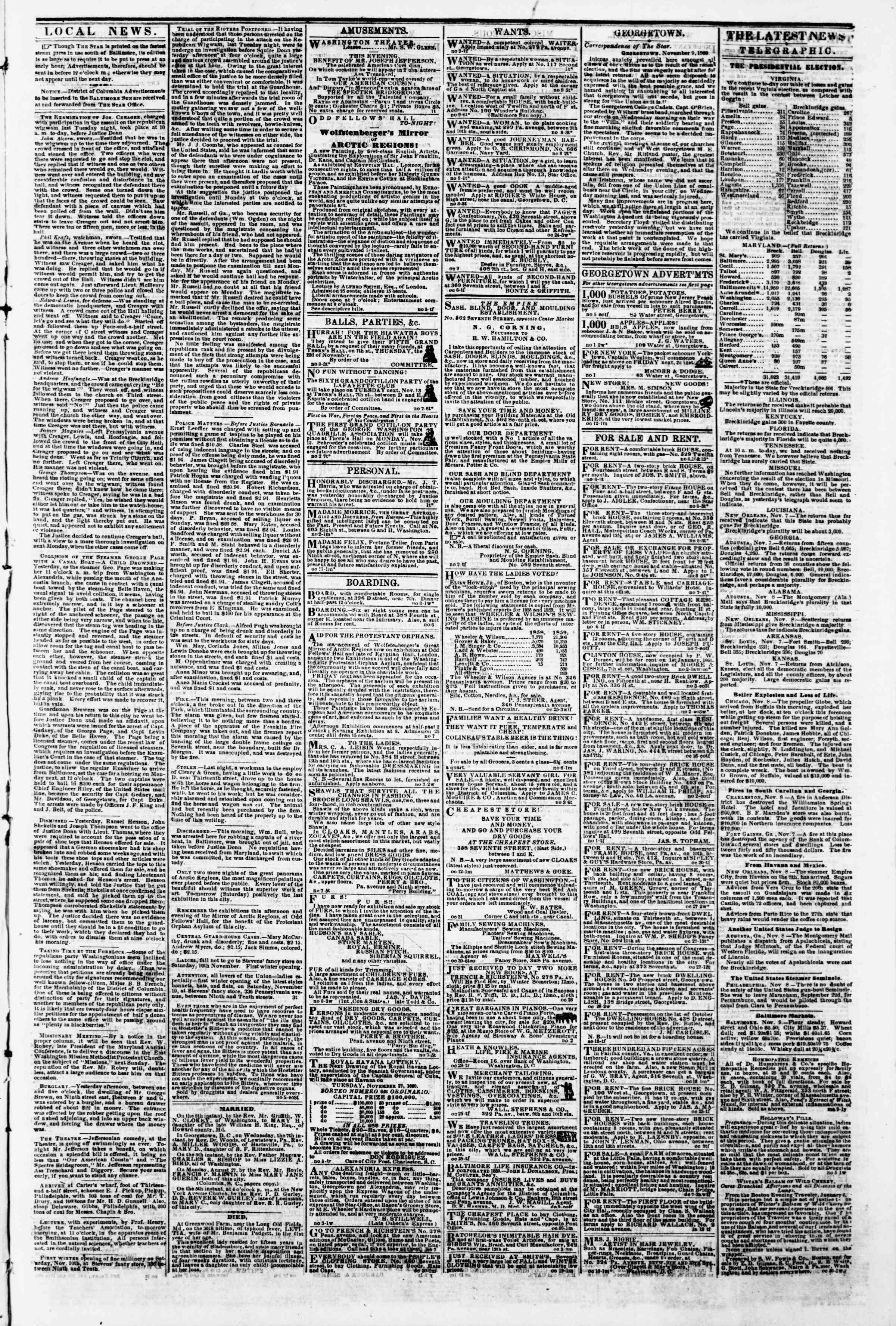 Newspaper of Evening Star dated November 9, 1860 Page 3