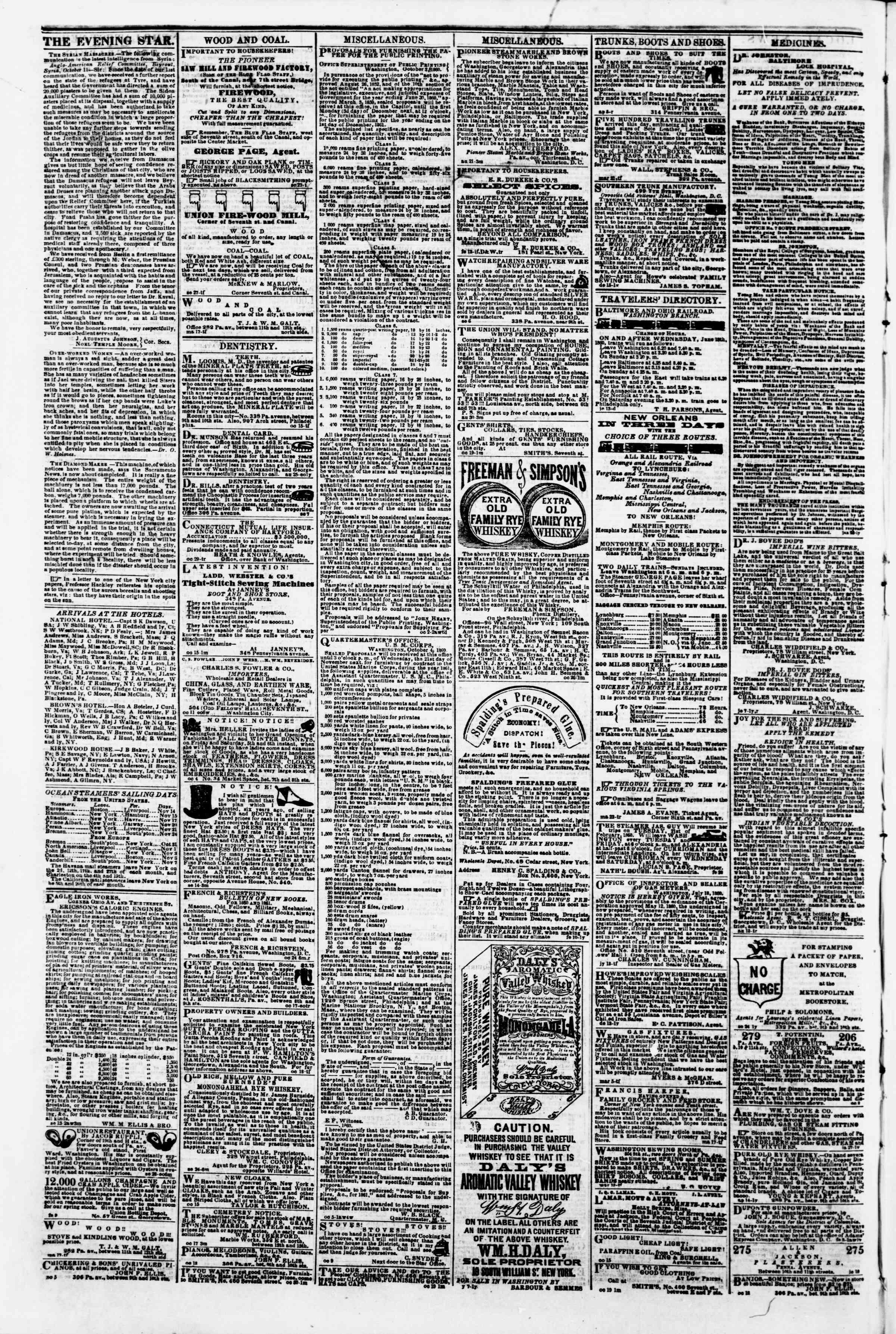 Newspaper of Evening Star dated 9 Kasım 1860 Page 4