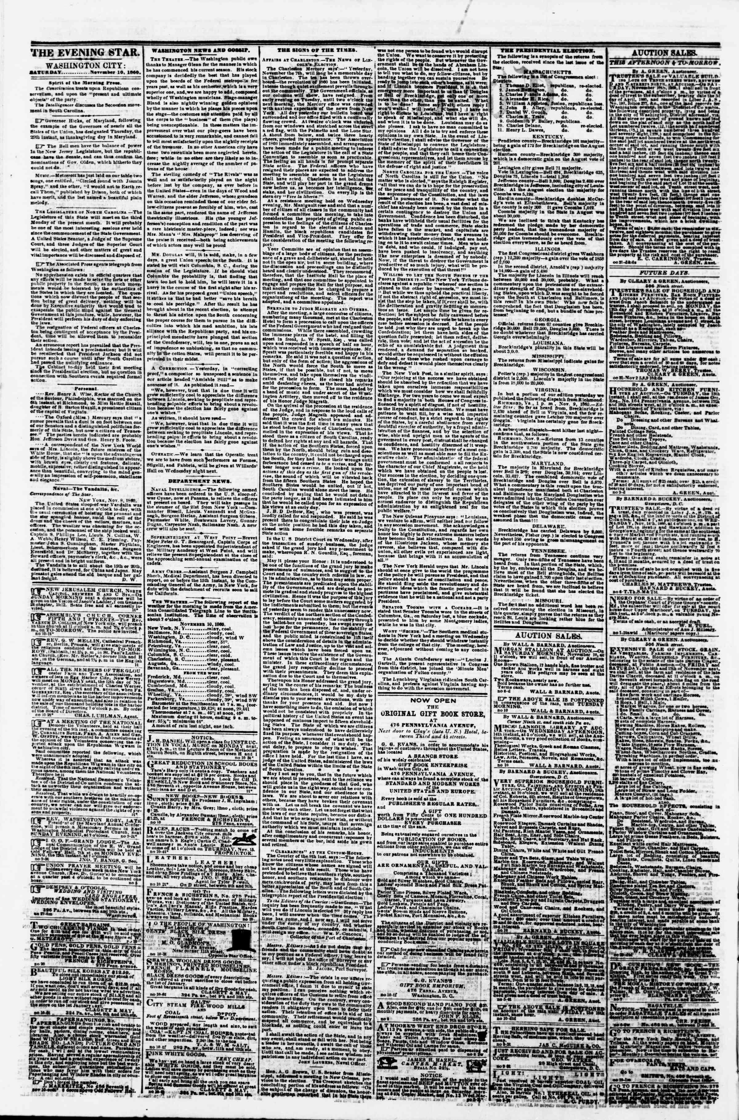 Newspaper of Evening Star dated November 10, 1860 Page 2