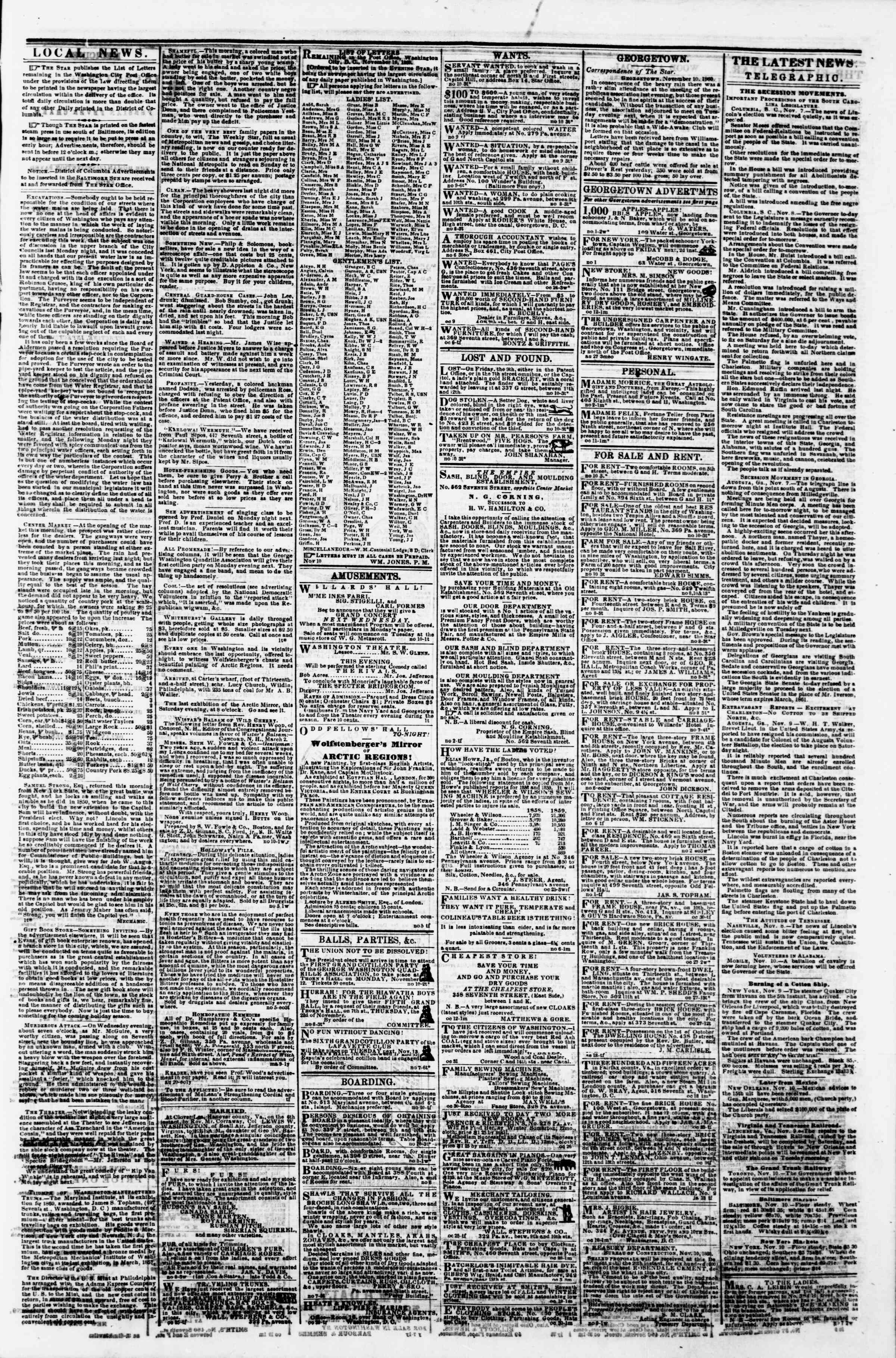 Newspaper of Evening Star dated November 10, 1860 Page 3
