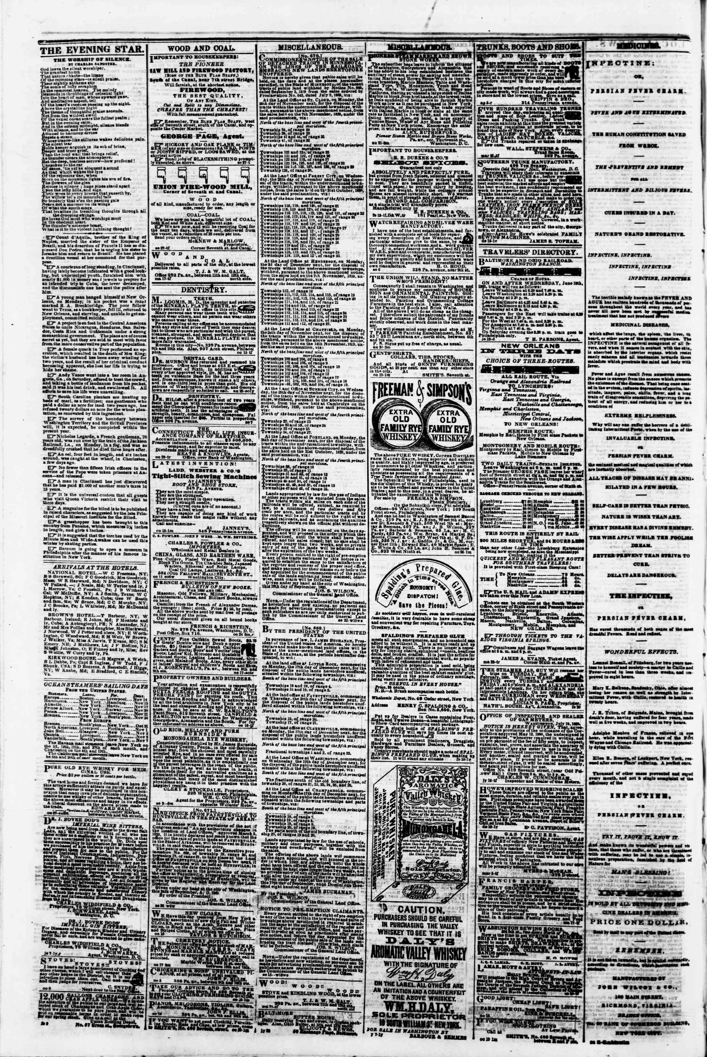 Newspaper of Evening Star dated November 10, 1860 Page 4