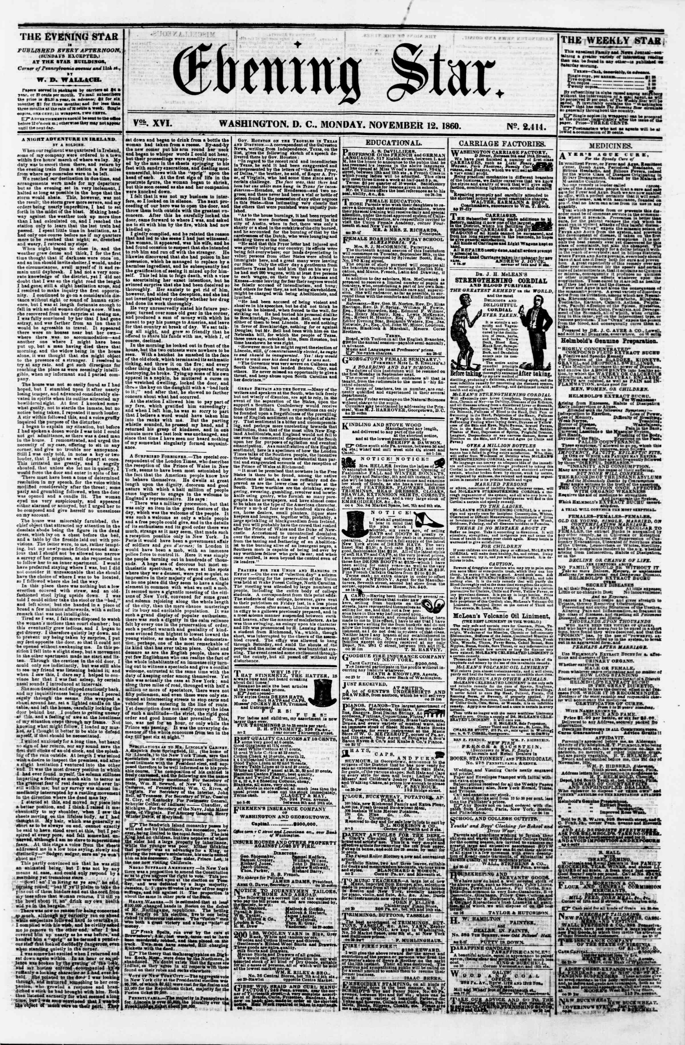 Newspaper of Evening Star dated November 12, 1860 Page 1