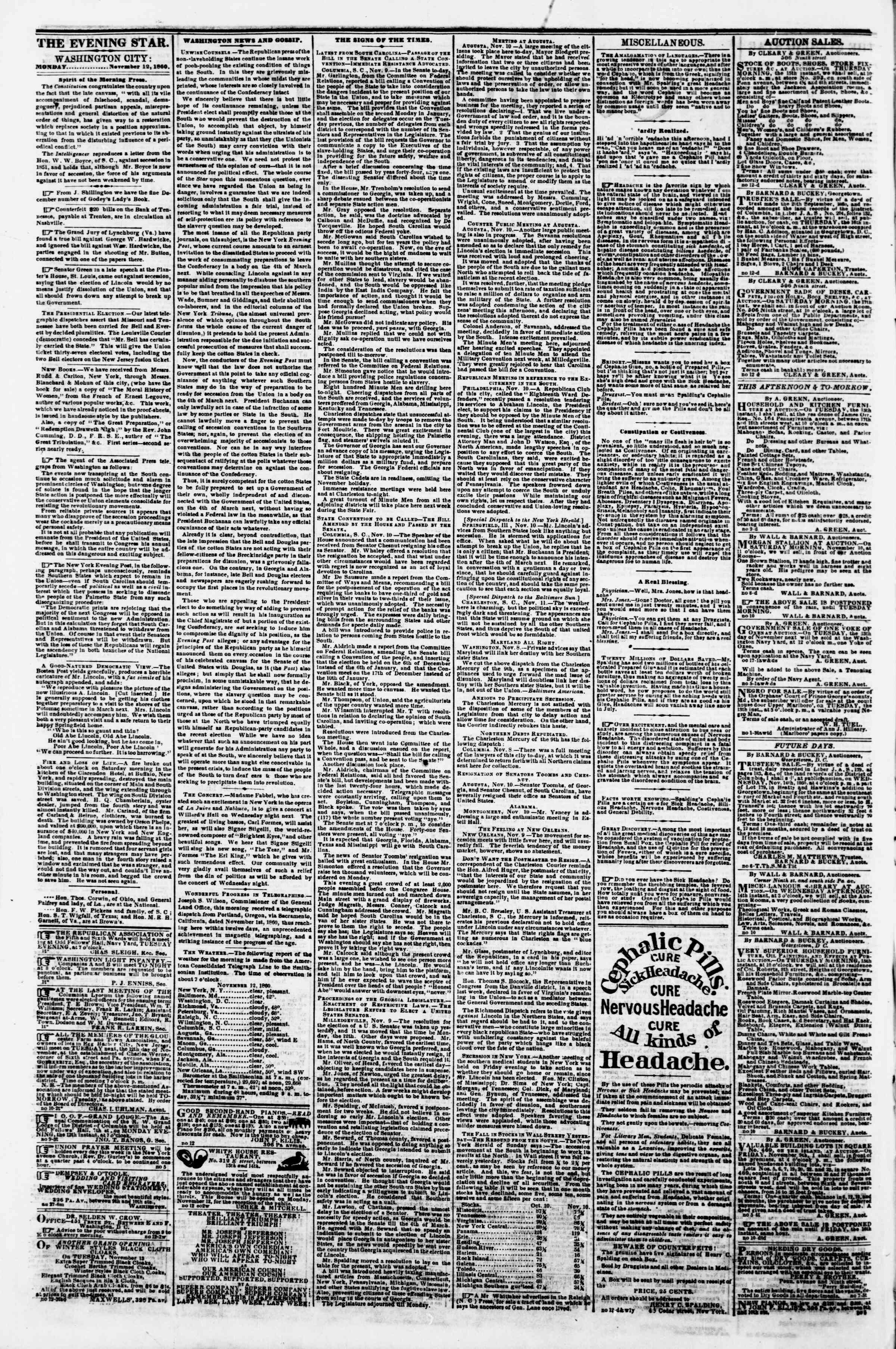 Newspaper of Evening Star dated November 12, 1860 Page 2