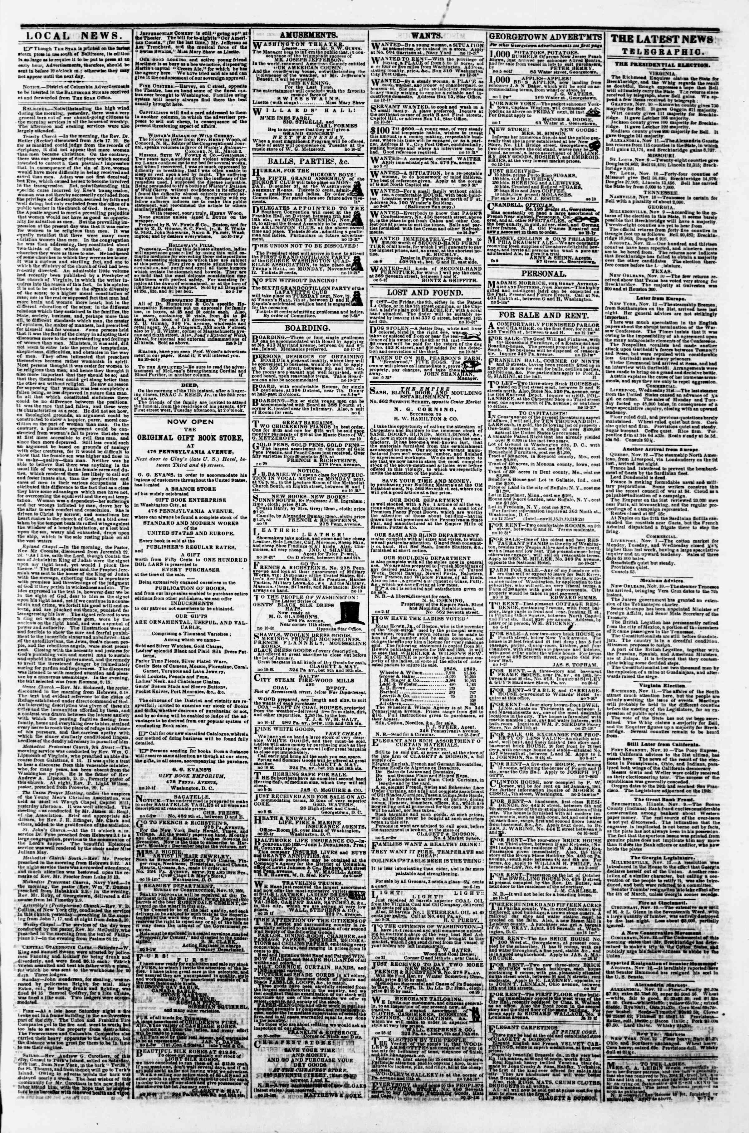 Newspaper of Evening Star dated November 12, 1860 Page 3